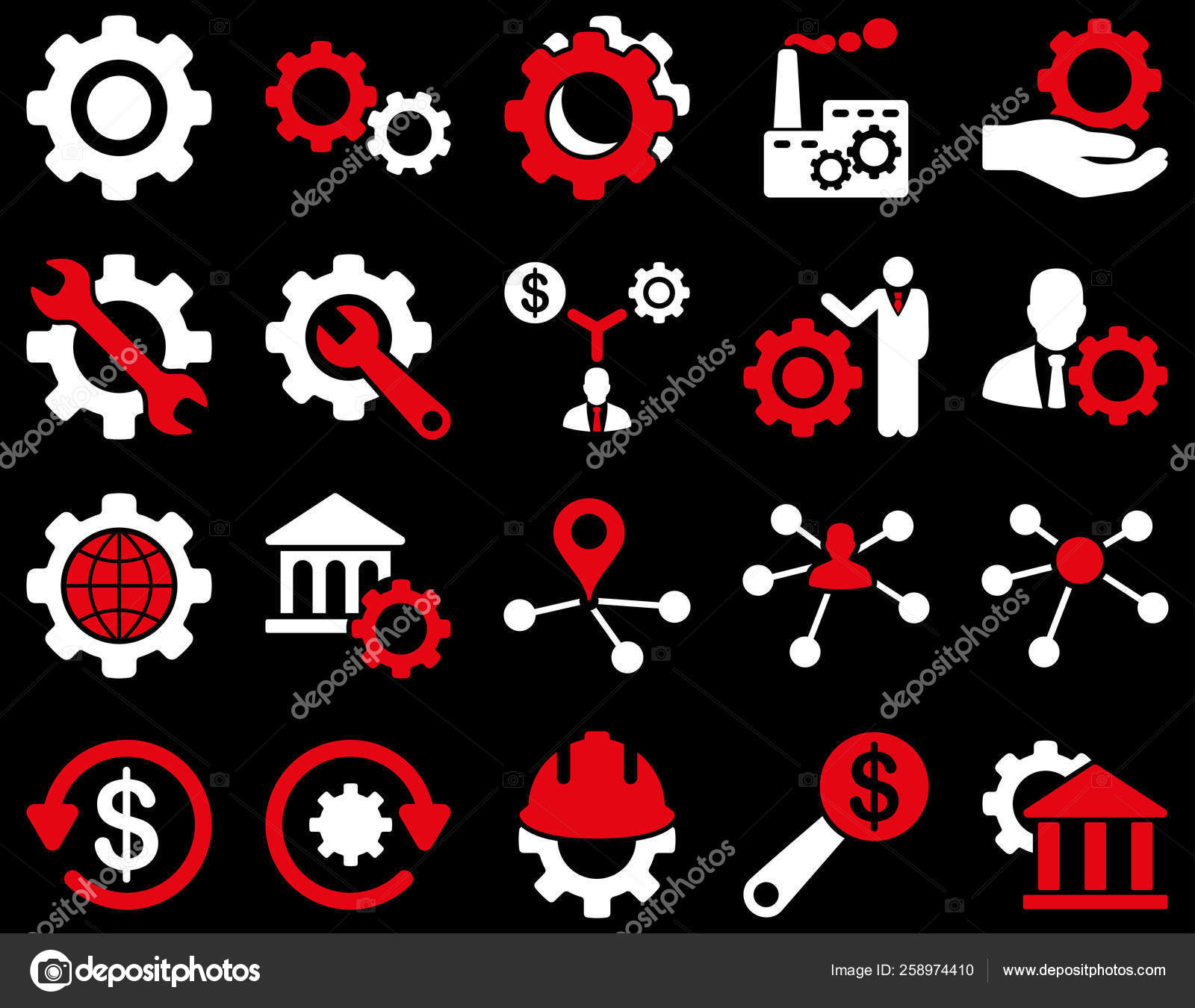 Settings Tools Icons Icon Set Style Bicolor Flat Images Red Stock Photo C Yayimages 258974410