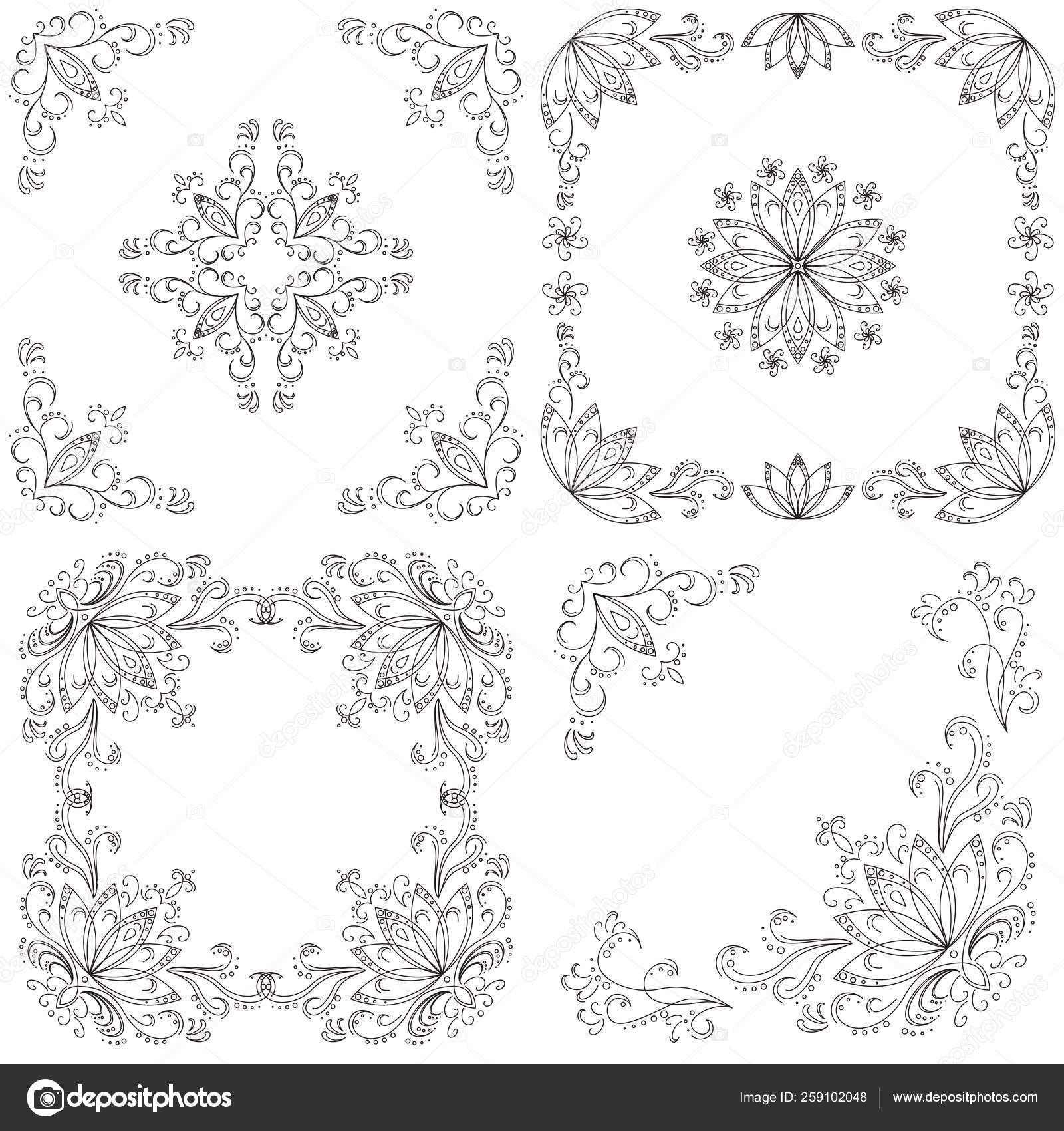 Set Abstract Floral Backgrounds Black Contour White Background