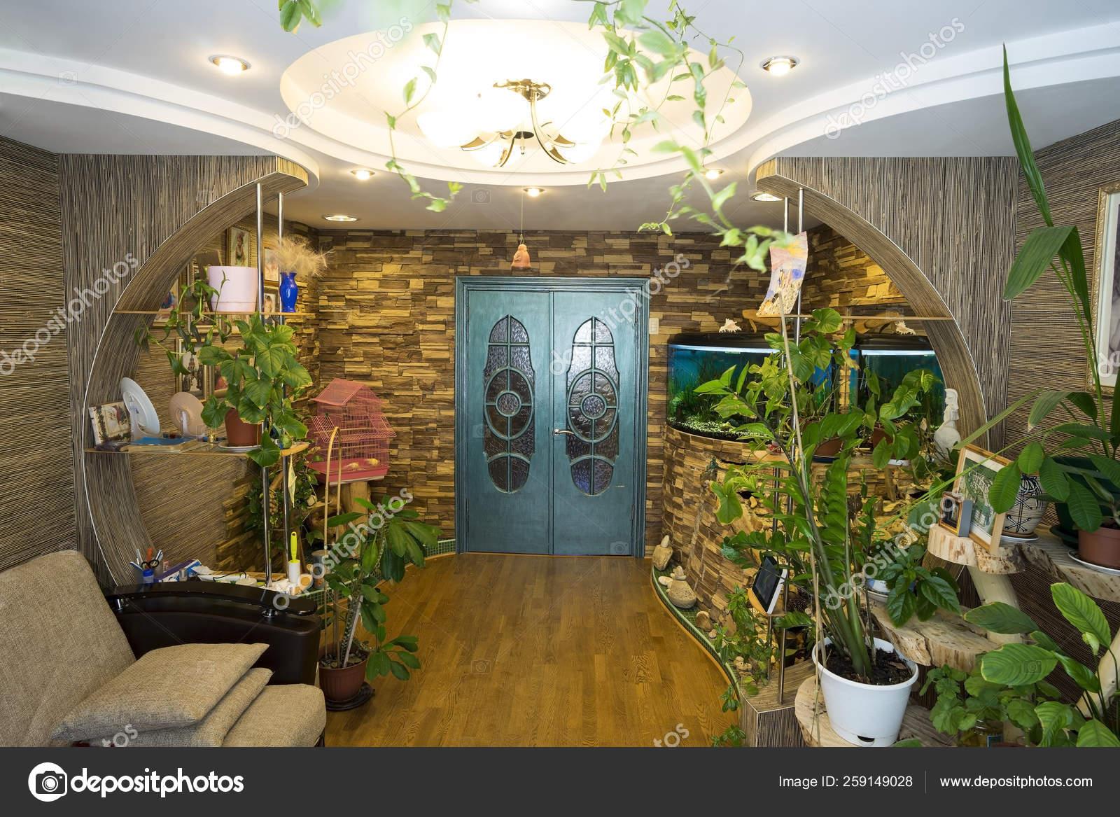 Interior Apartment Aquarium Living Room Colors Stock
