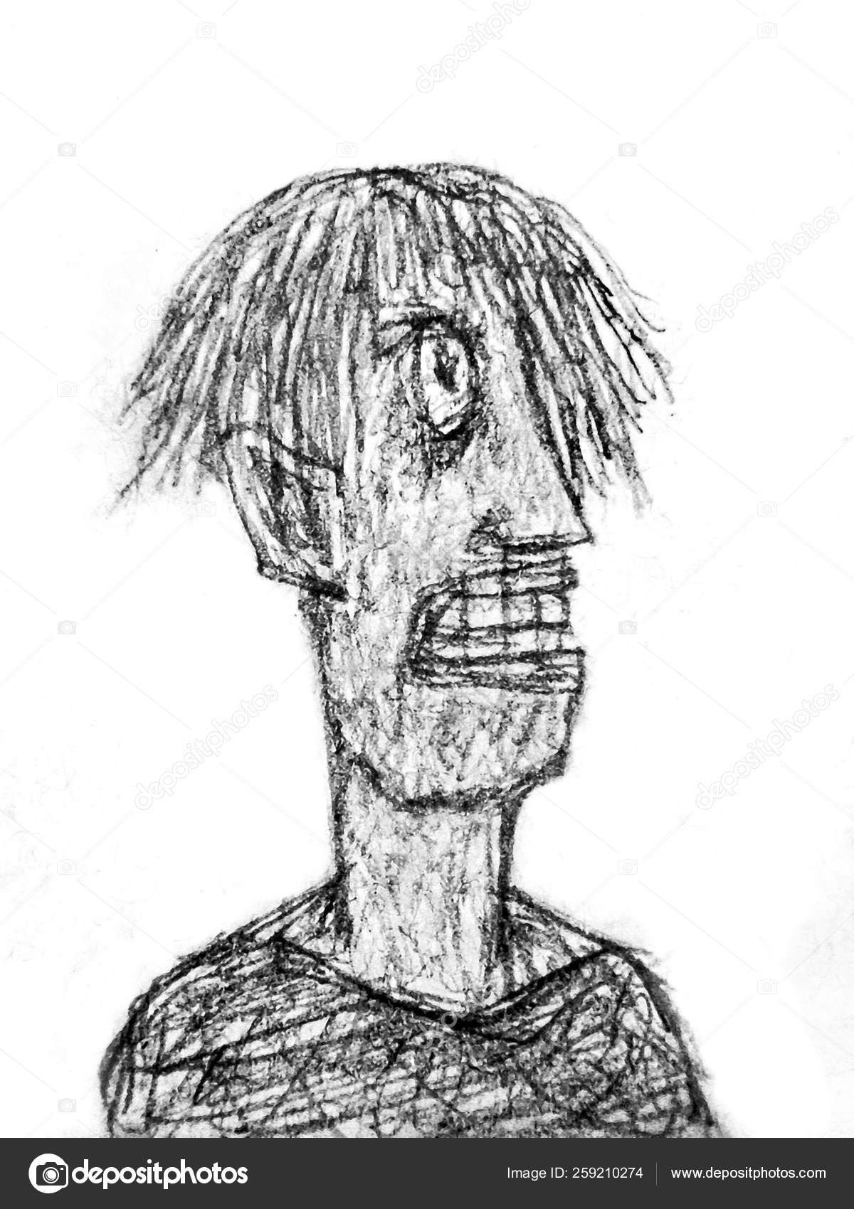 Pencil drawing technique raster illustration young man crazy