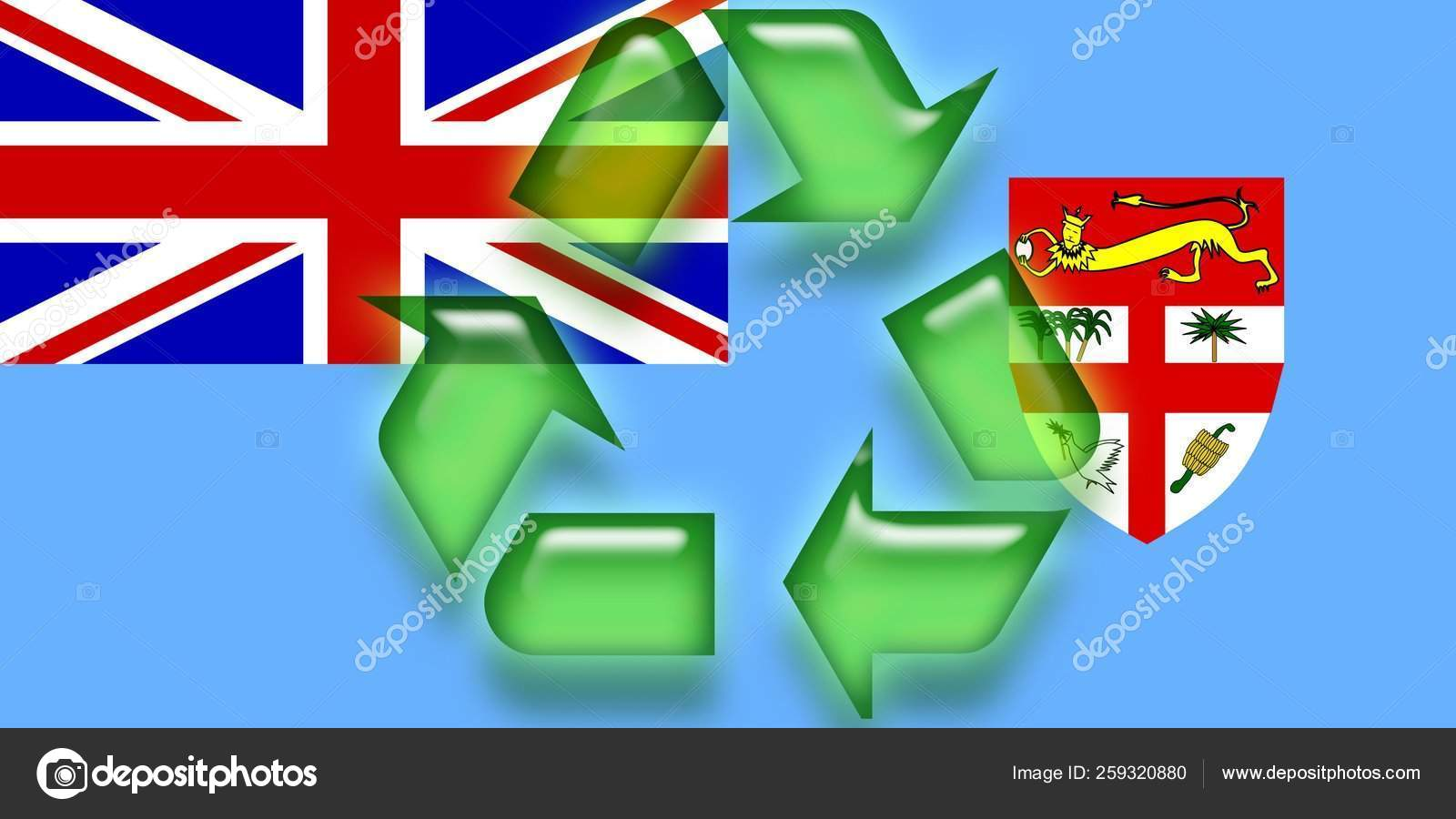 Flag Fiji National Country Symbol Illustration Eco Recycling
