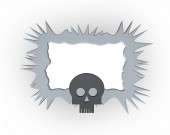 pictureframe with thorns and skull - 3d illustration
