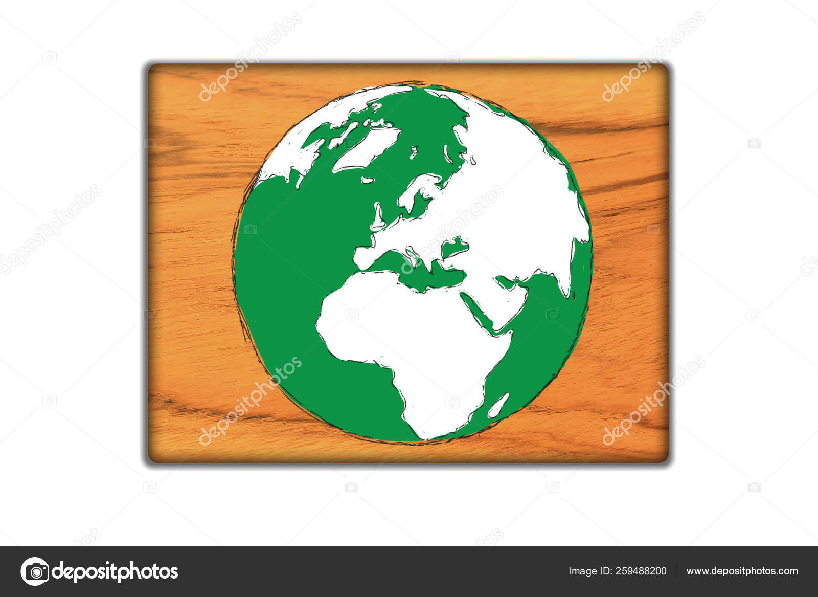 Draw Sign World Map Wood — Stock Photo © YAYImages #259488200