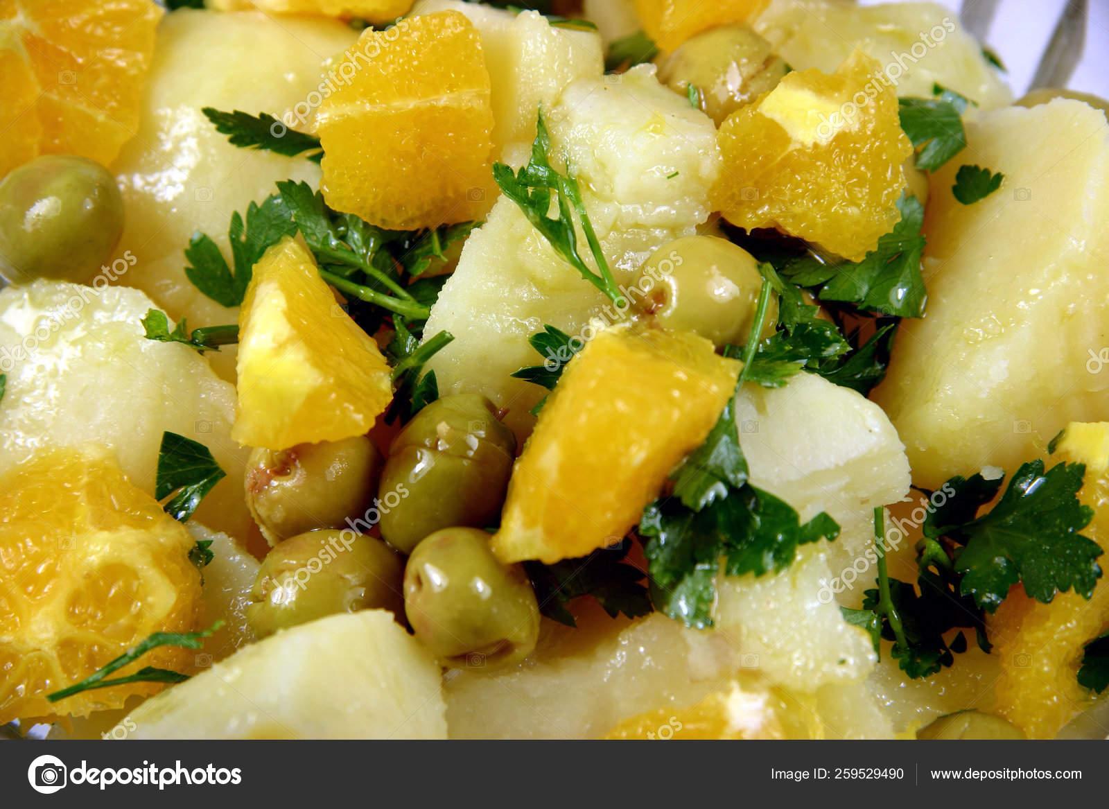 Spanish Salad Potatoe Orange Cod Onion Olives Stock Photo C Yayimages 259529490