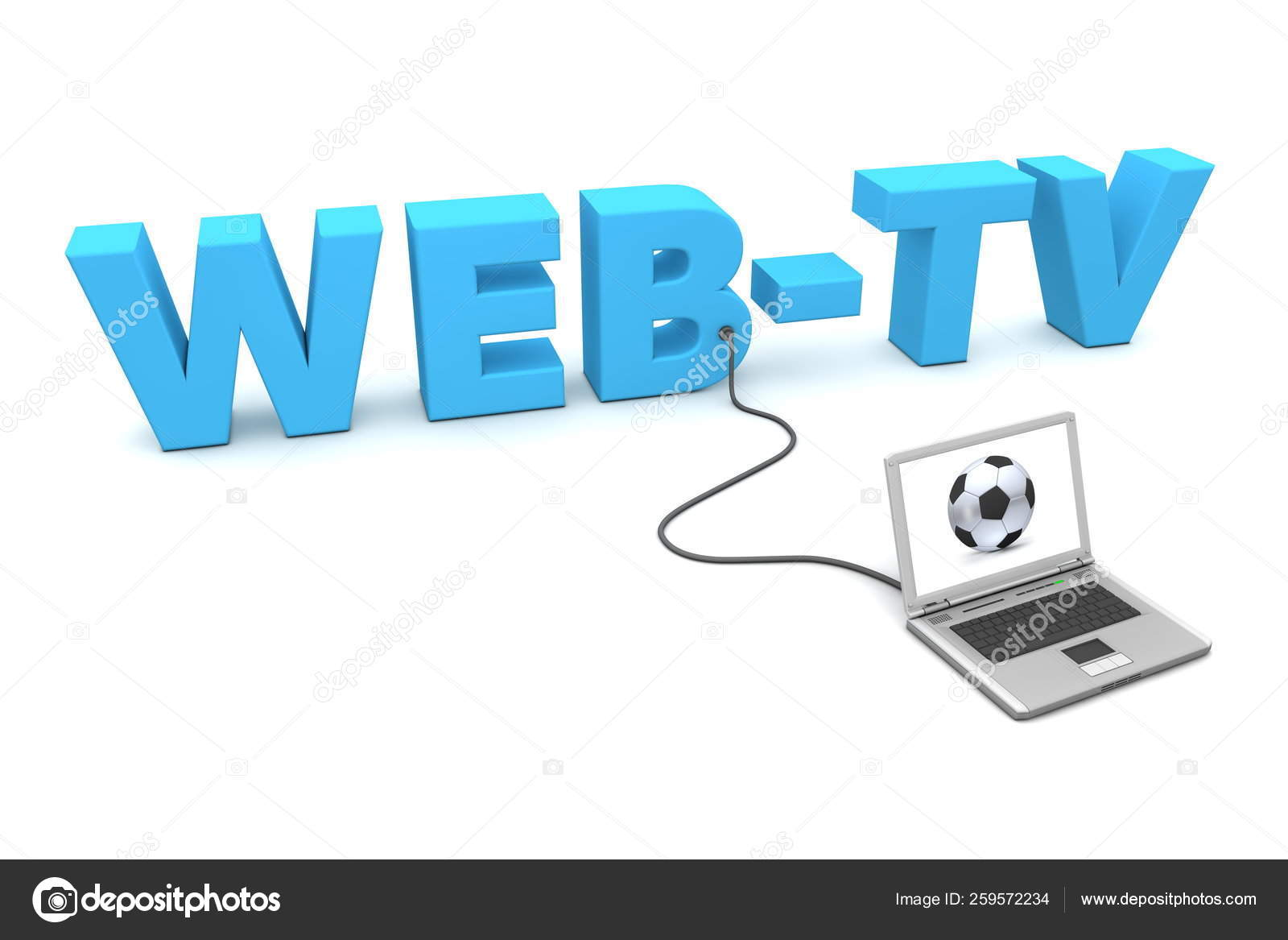 Laptop Connected Blue Word Web Watching Football Soccer