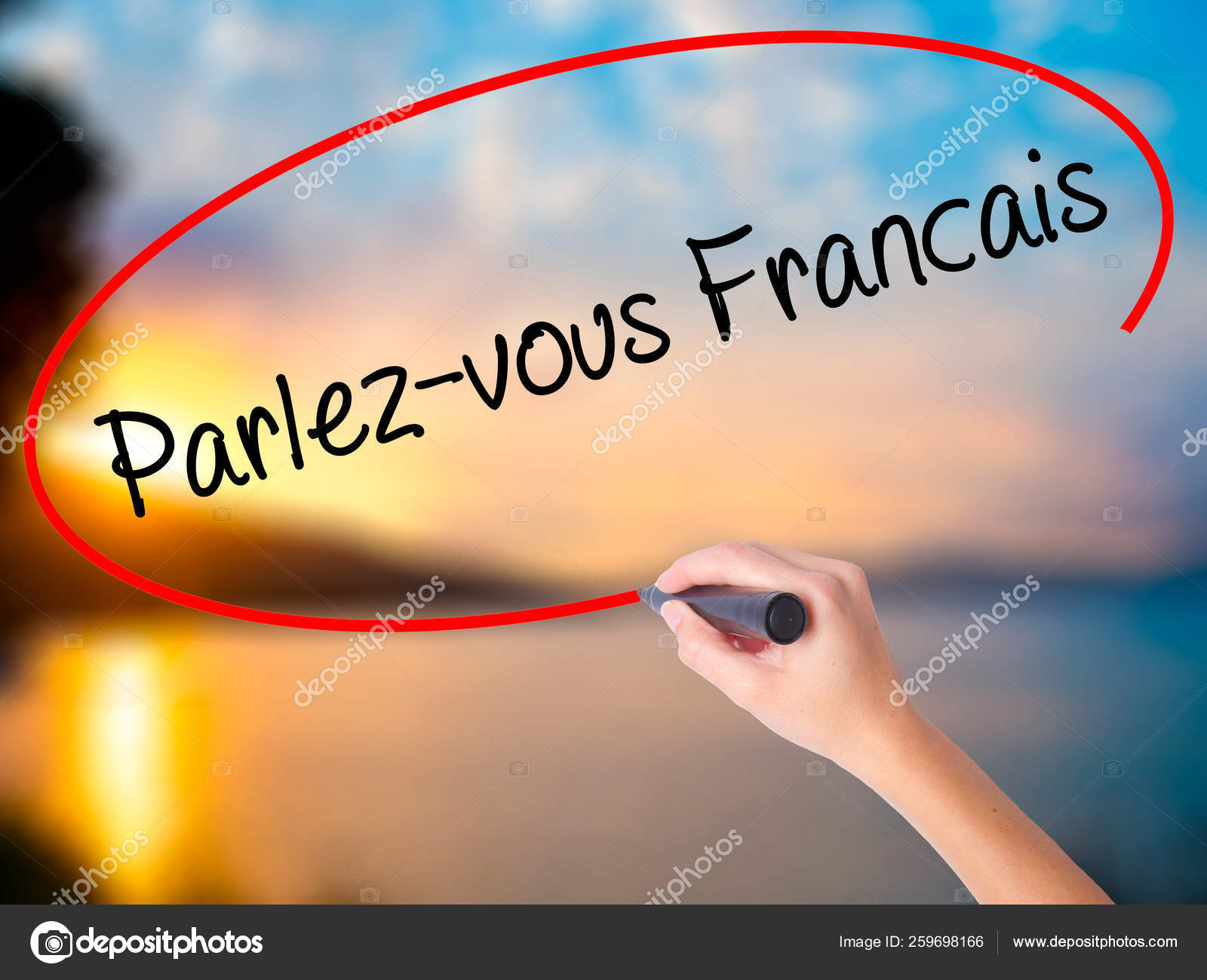 Women Hand Writing You Speak French French Black Marker Visual Stock Photo C Yayimages 259698166