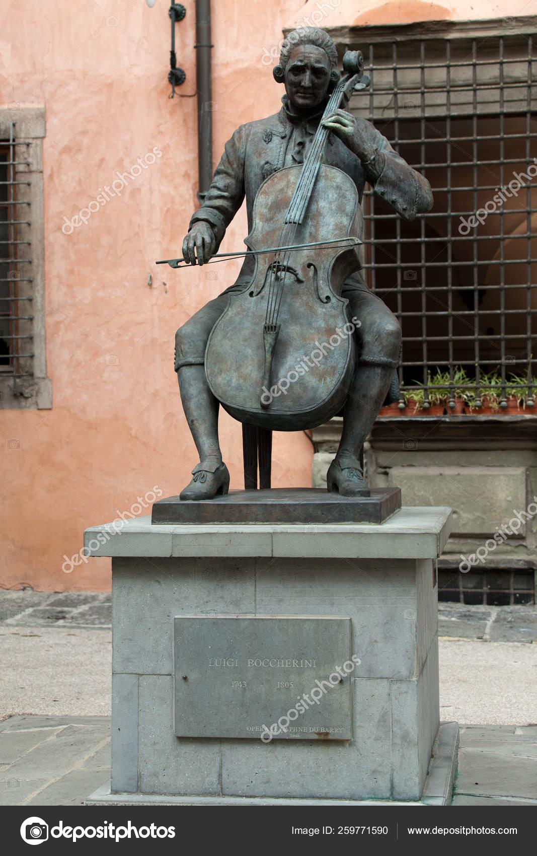 Bronze Statue Puccini Lucca Italy House Born — Stock Photo
