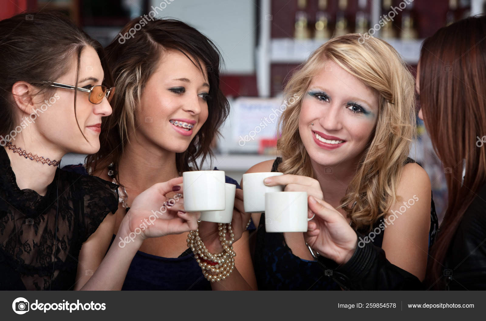 Young Sexy Teen Friends Having Coffee Restaurant Stock Photo