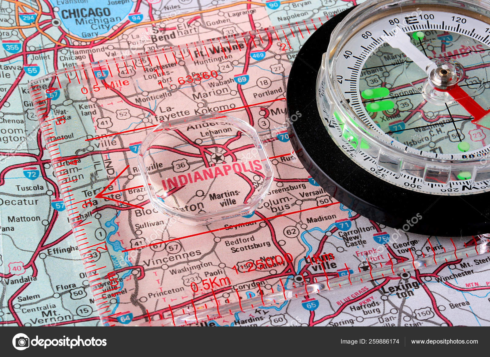 Picture of: Usa Map City Indianapolis Compass Magnifying Glass Indianapolis Stock Photo C Yayimages 259886174