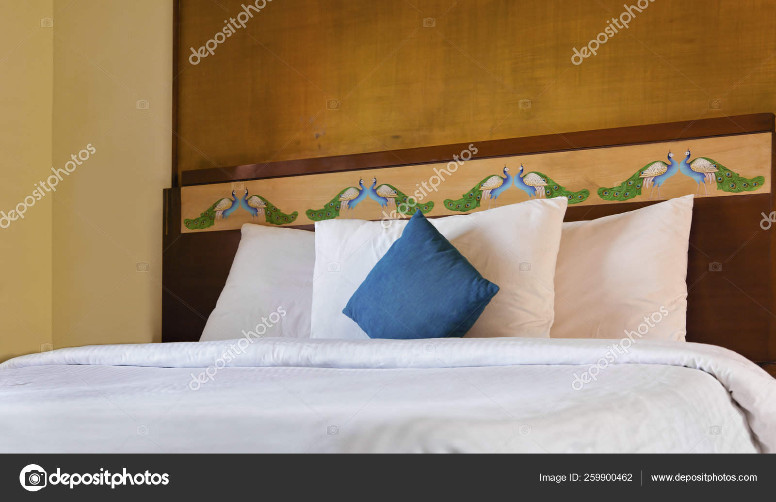 Indian Bedroom Interior Design Layout White Bedding Peacock Pattern Wooden Stock Photo Image By C Yayimages 259900462