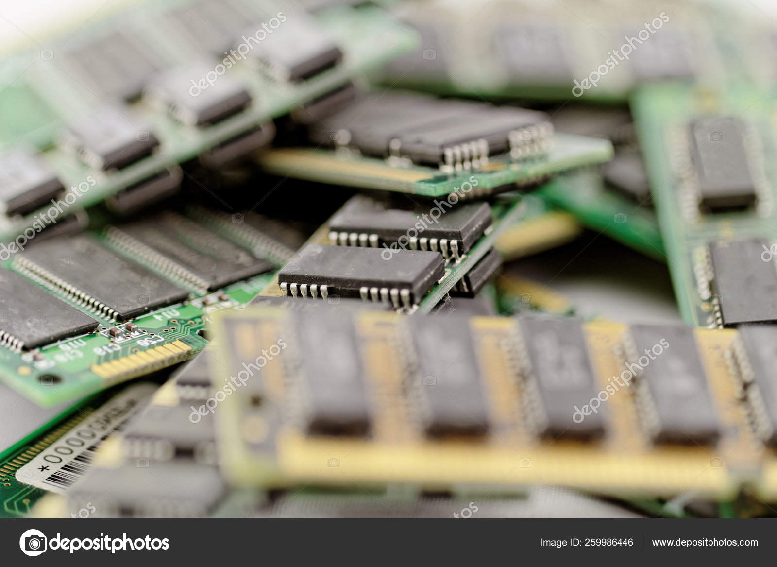 Many Different Computer Memory Modules Ram Ddr Eprom — Stock