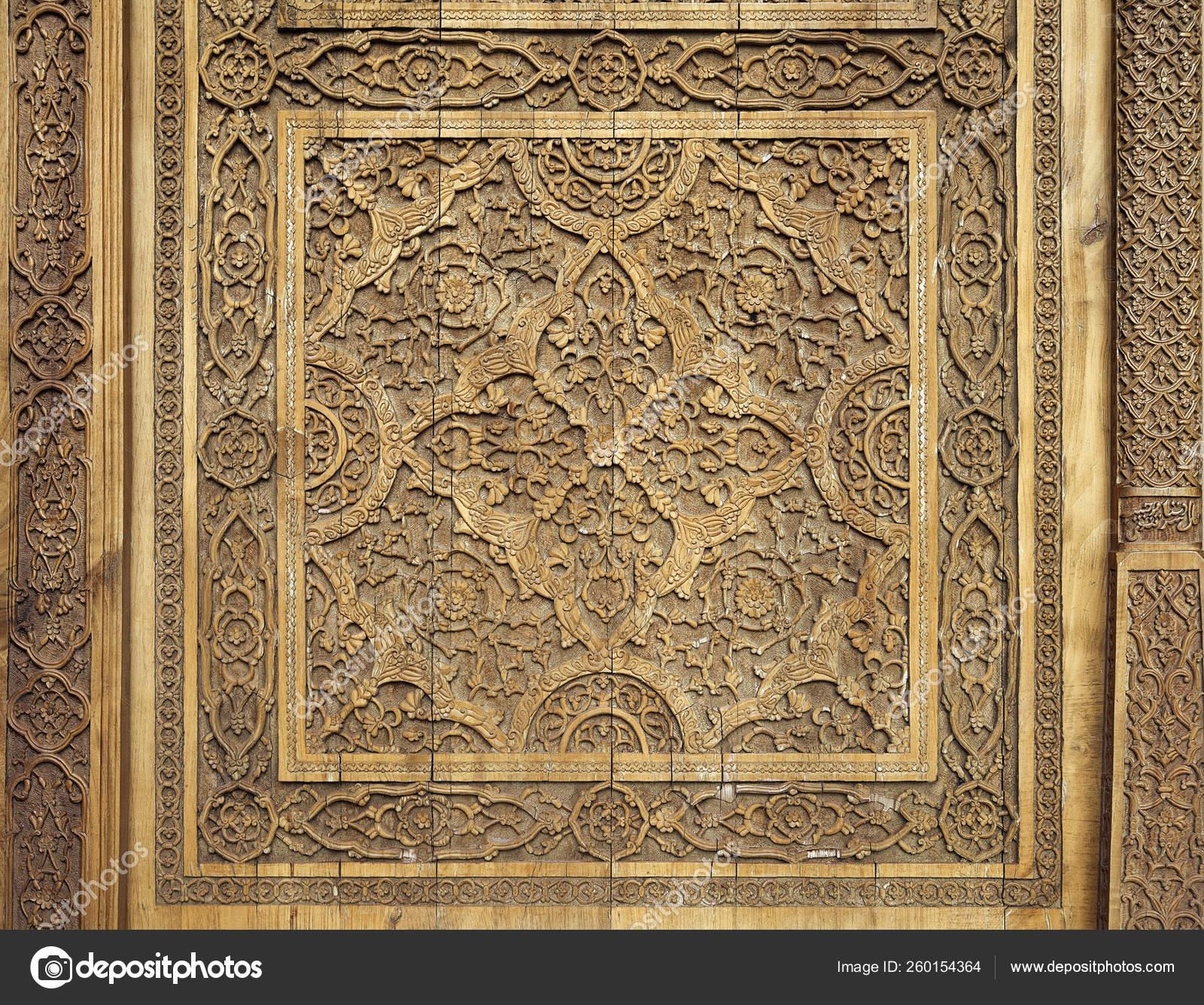 Close Traditional Carved Wooden Door Uzbekistan — Stock