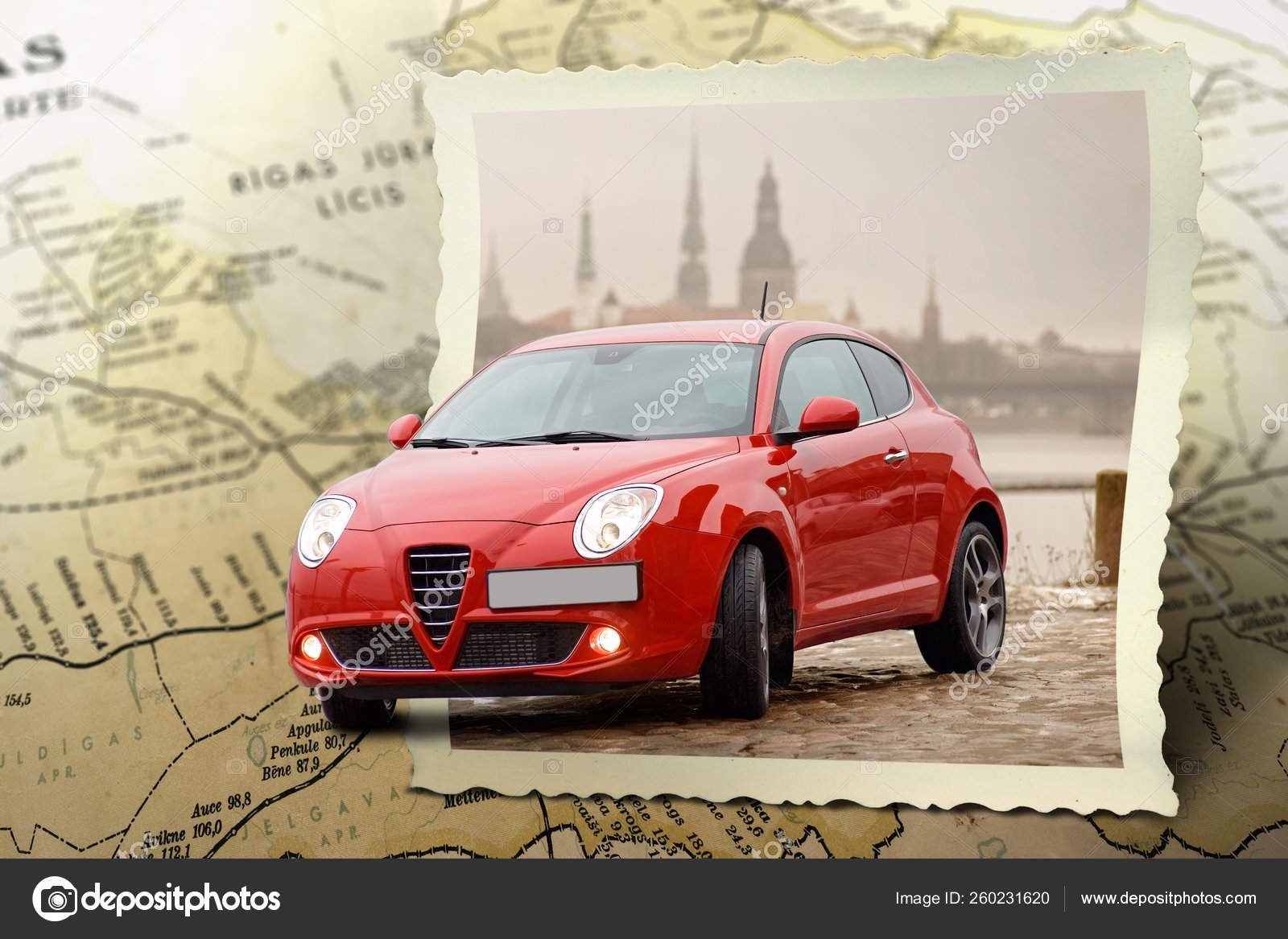 Photo Composition Red Car Driving Out Map Stock Editorial Photo C Yayimages 260231620