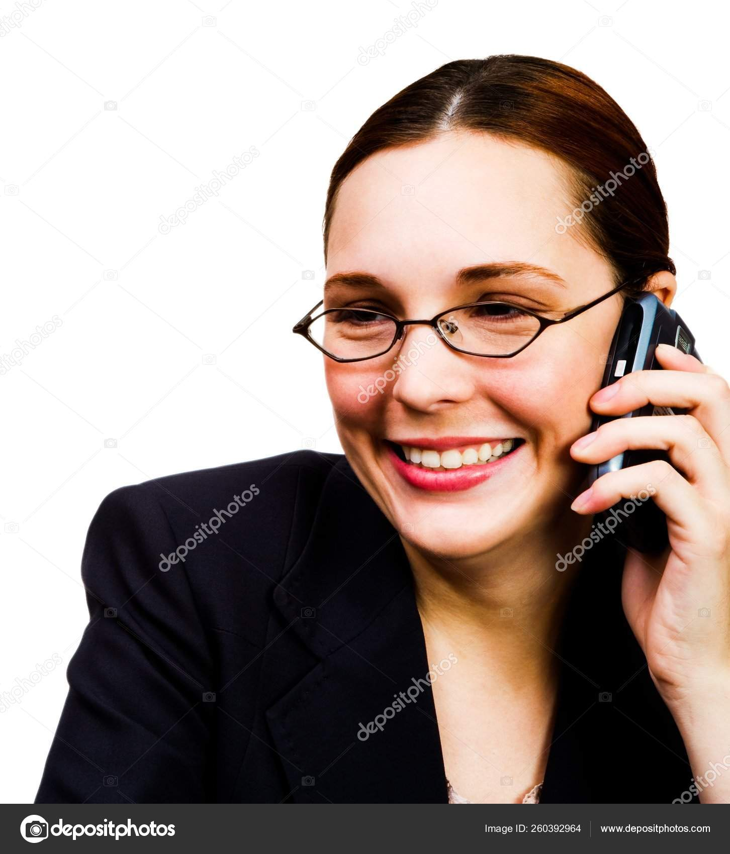 Happy Businesswoman Talking Mobile Phone Isolated White