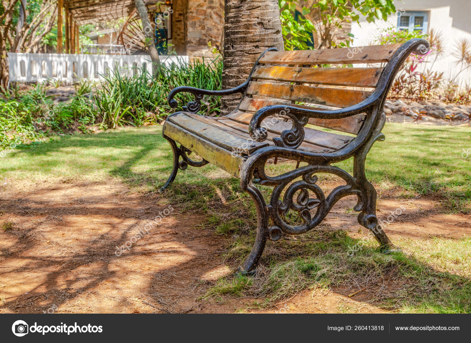 Picture of: Horizontal Color Landscape Wooden Slat Cast Iron Frame Park Bench Stock Photo C Yayimages 260413818