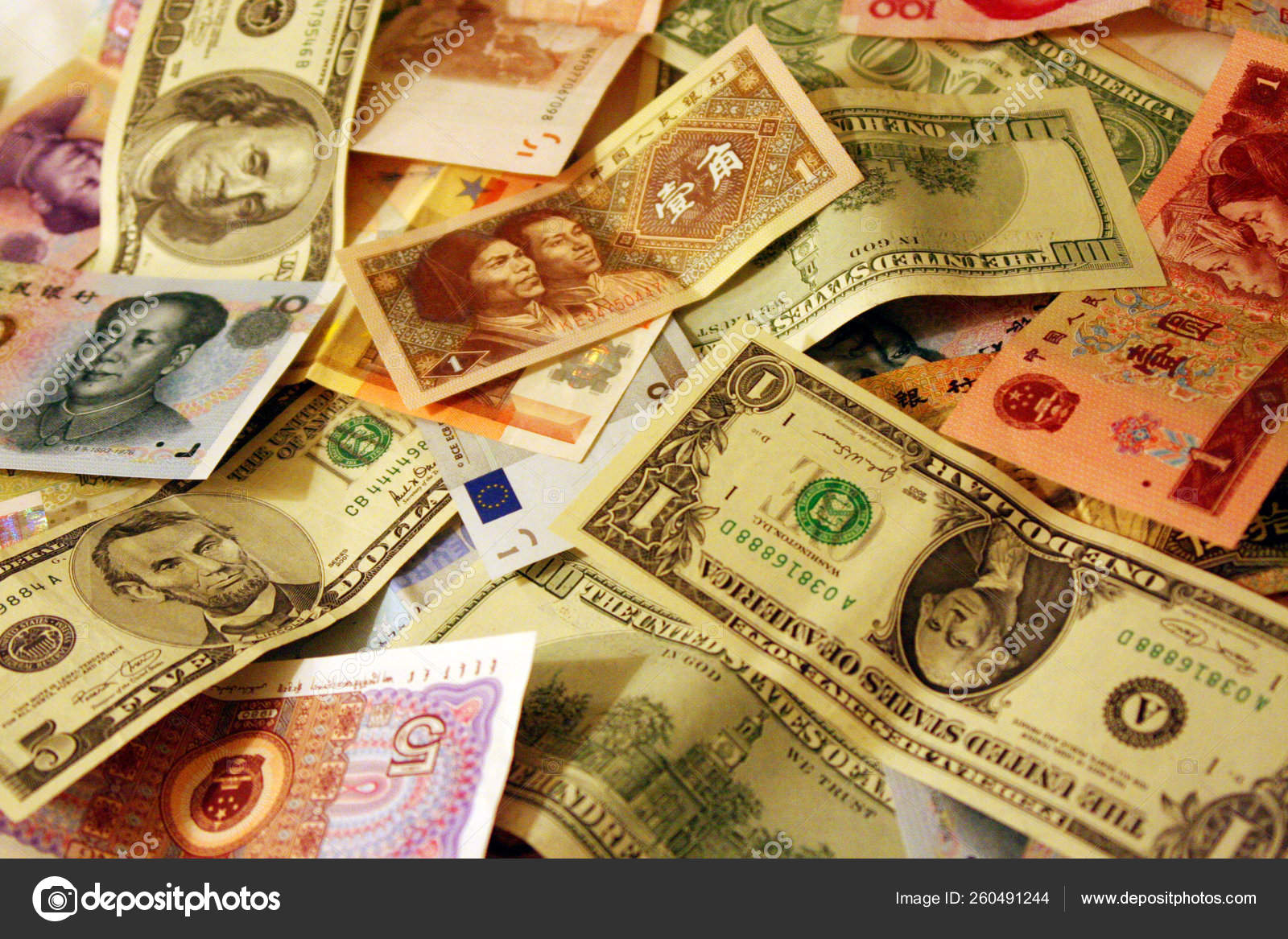 Background Paper Money Banknotes China Features Euro Dollars