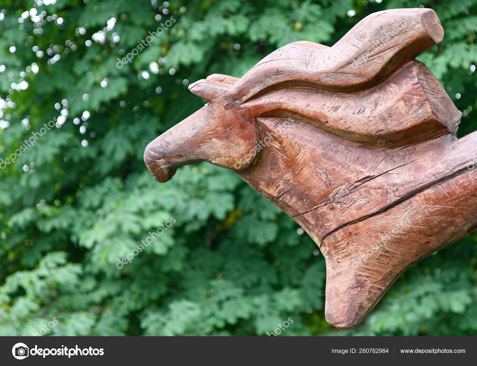 Wooden Horse Sculpture Green Foliage Background Stock Photo C Yayimages 260762984