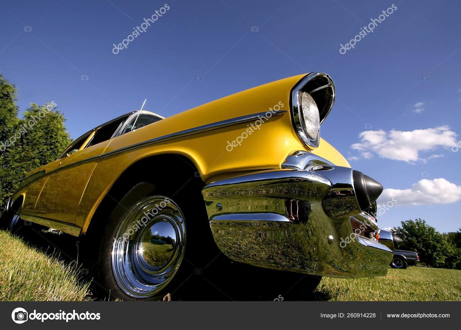 Wide Angle Shot Red Classic Car Stock Editorial Photo C Yayimages 260914228