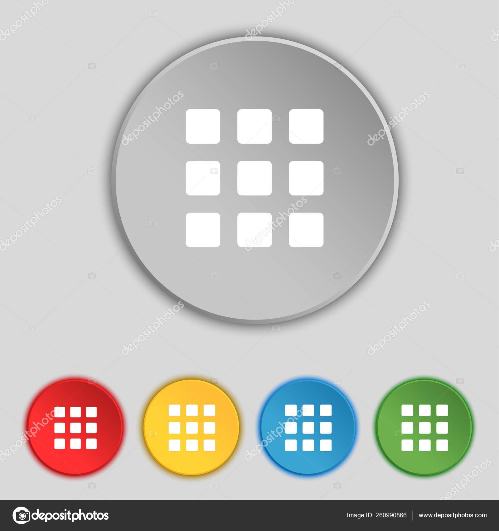 List Menu Content View Options Icon Sign Symbol Five Flat — Stock