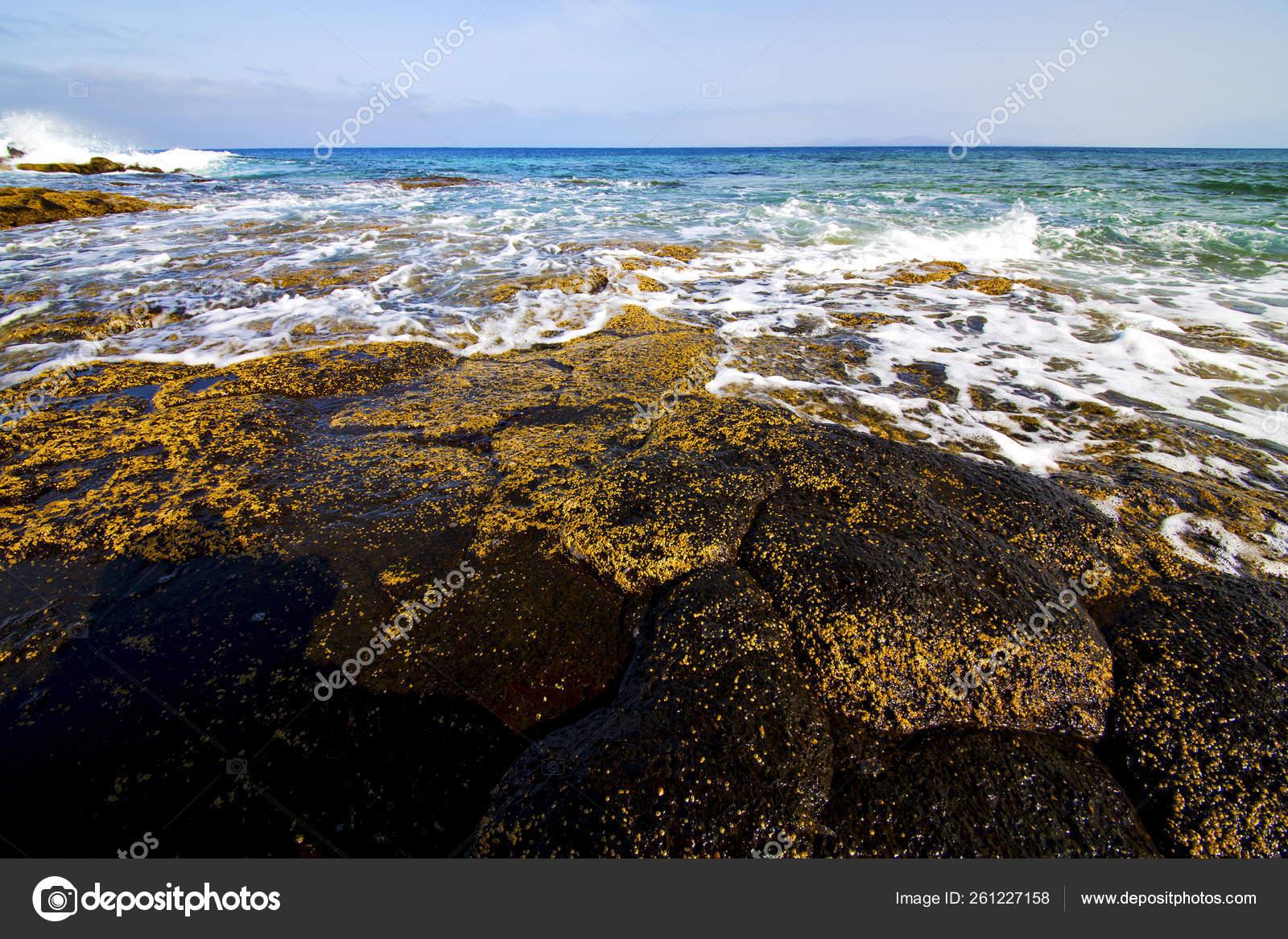 Beach Light Water Lanzarote Isle Foam Rock Spain Landscape