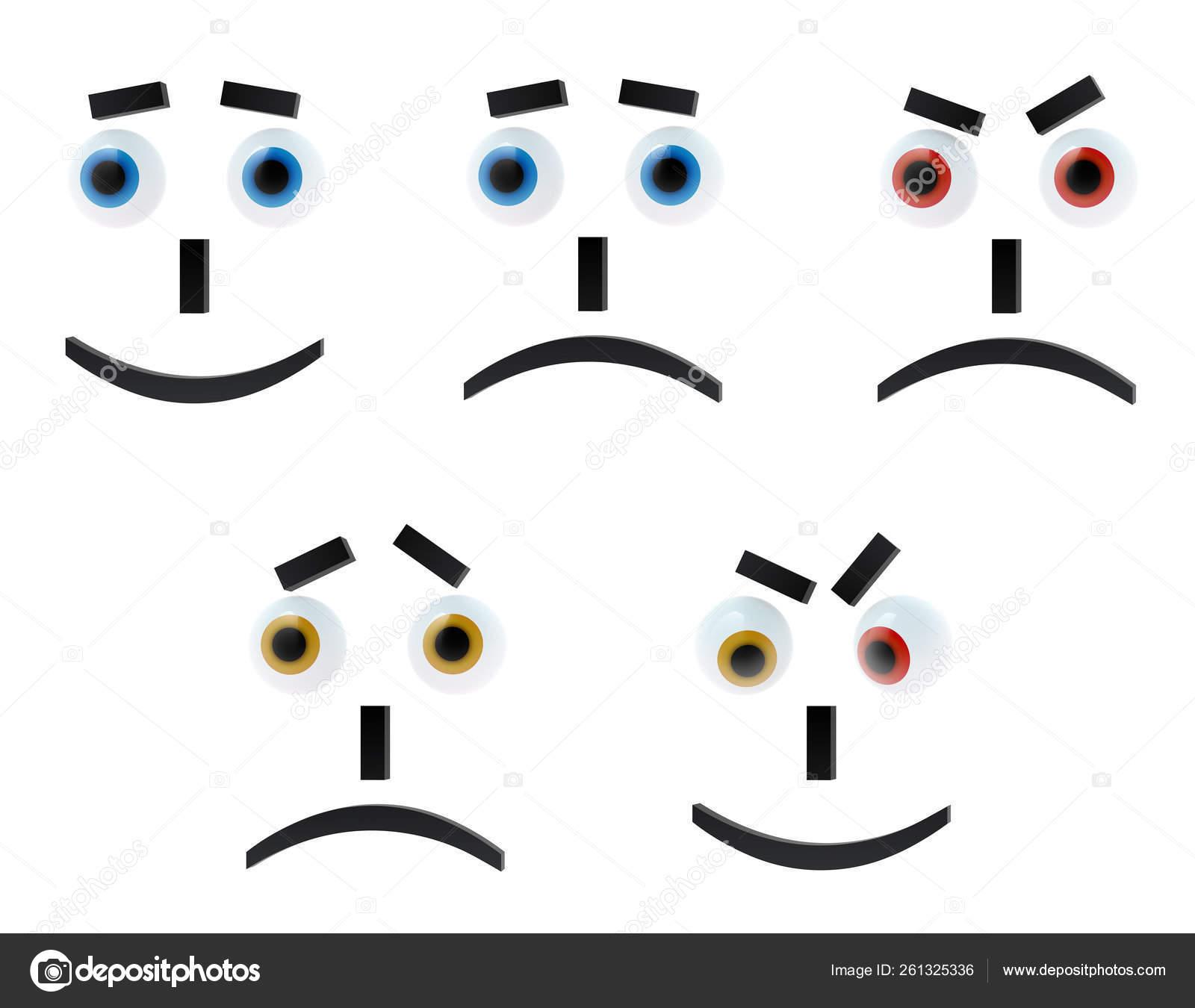 Set Lima Emoticon Latar Belakang Putih Ceria Sedih Terkejut Agresif — Stok  Foto © YAYImages #261325336