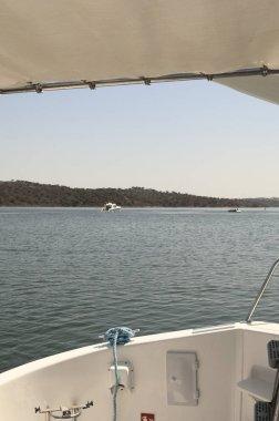 Houseboats in the lake Alqueva, Alentejo, Portugal