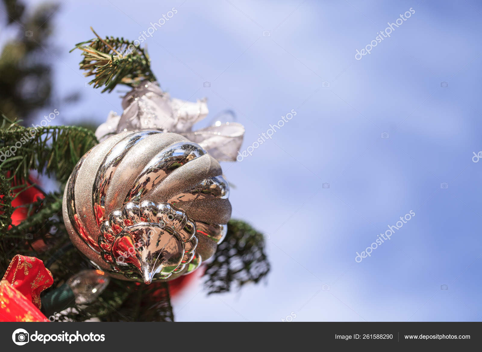 Red Green Gold Silver Christmas Ornaments Hanging Christmas Tree December Stock Photo C Yayimages 261588290