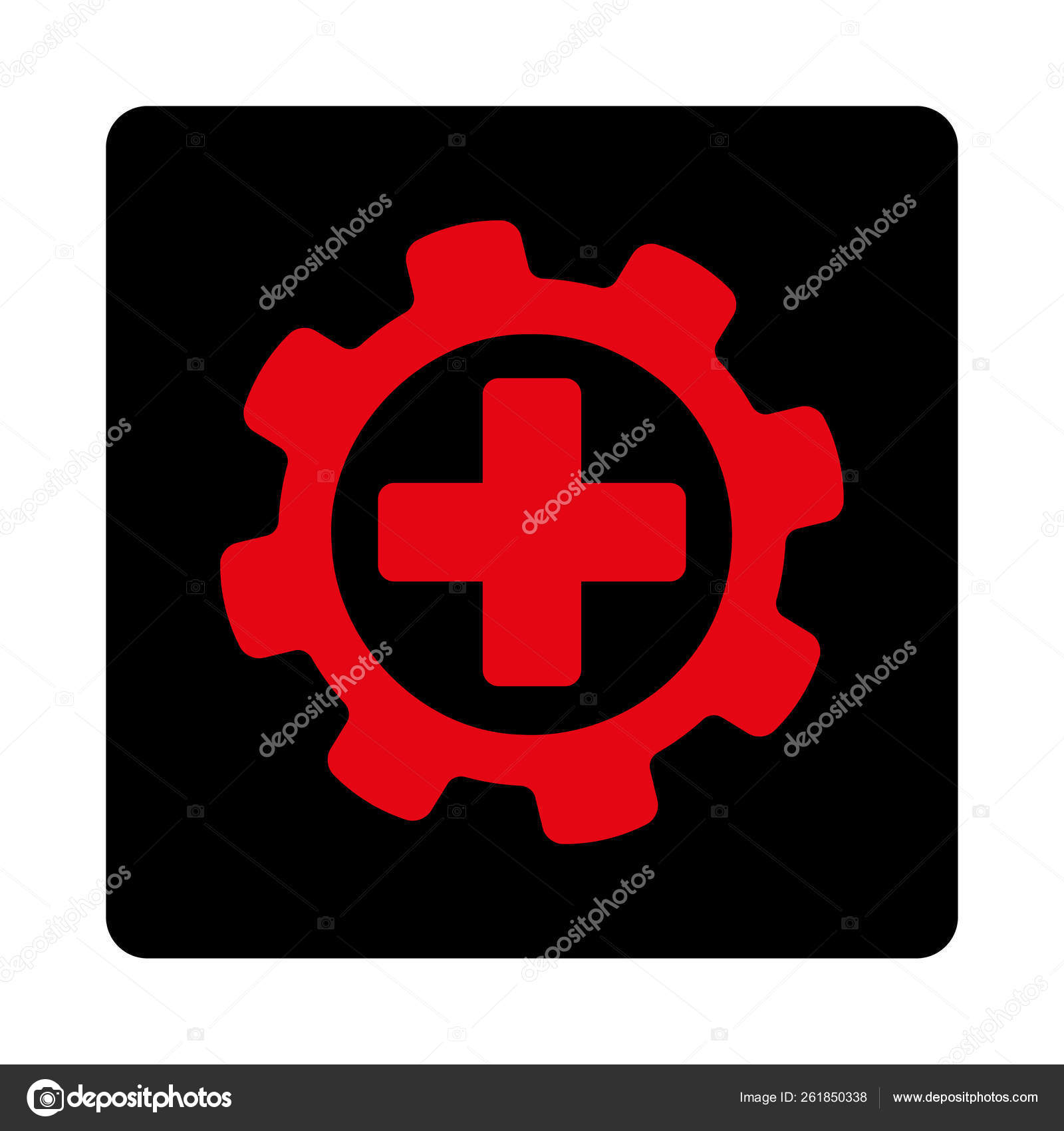 Medical Settings Icon Flat Rounded Square Button Uses Intensive Red Stock Photo C Yayimages 261850338