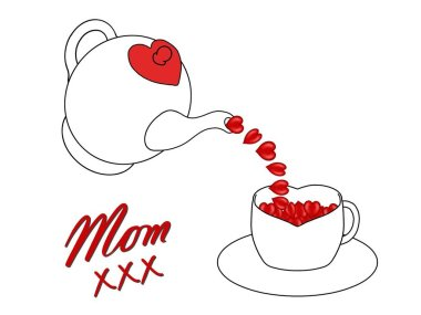 Birthday or Mother's Day card to Mum with a teapot, cup, hearts and kisses