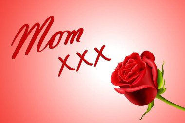 Birthday or Mother's Day card to Mom with roses and kisses