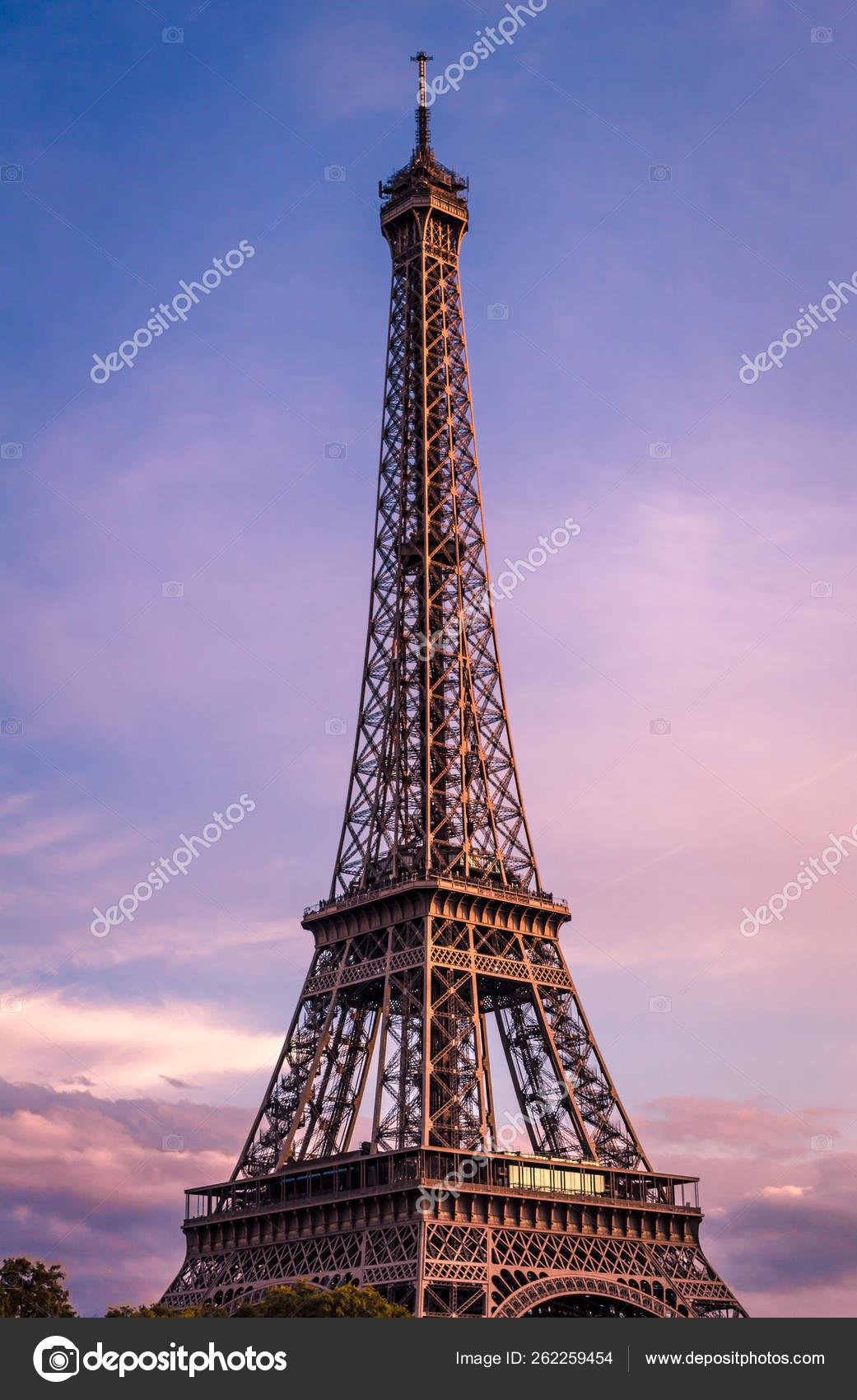 Eiffel Tower Blue Purple Sunset Sky Stock Photo C Yayimages 262259454