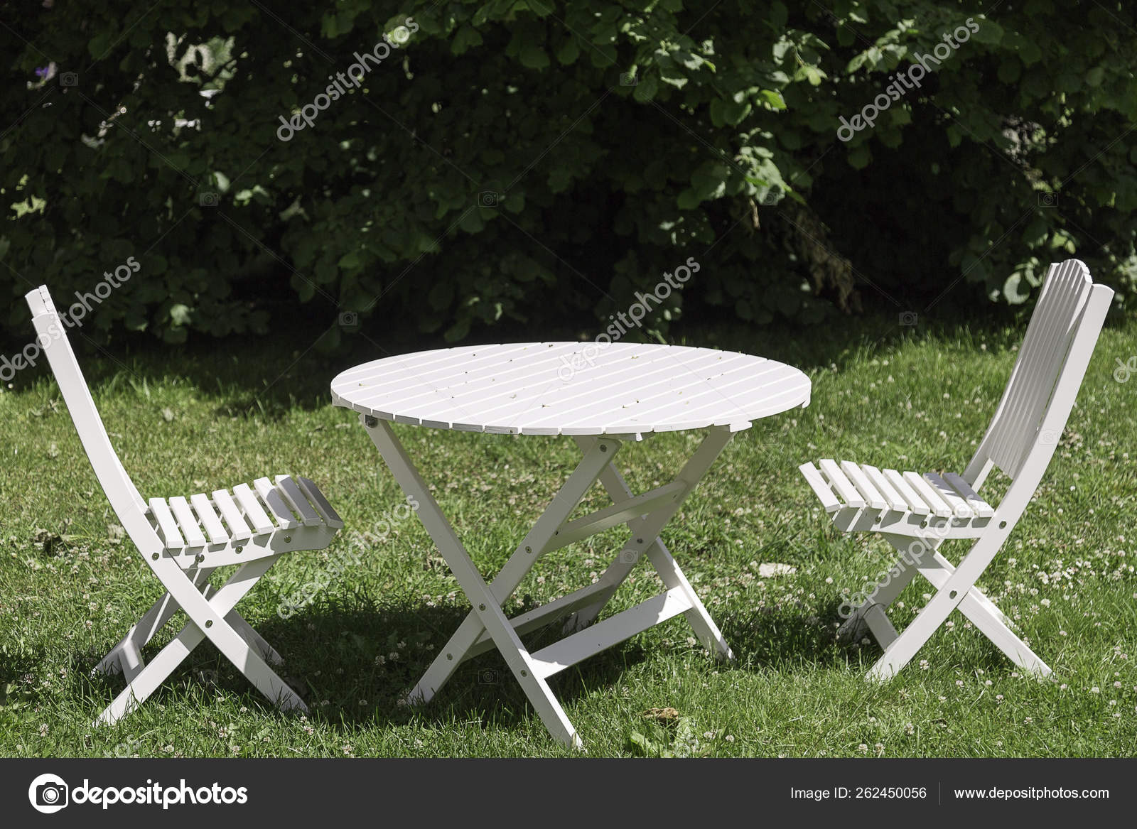 White Garden Chairs Table Green Grass Stock Photo C Yayimages 262450056