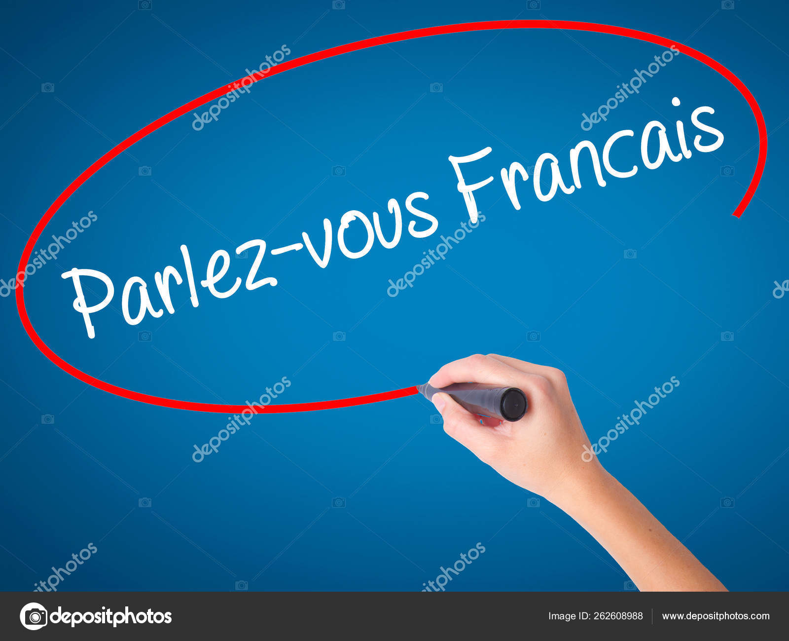 Women Hand Writing You Speak French French Black Marker Visual Stock Photo C Yayimages 262608988