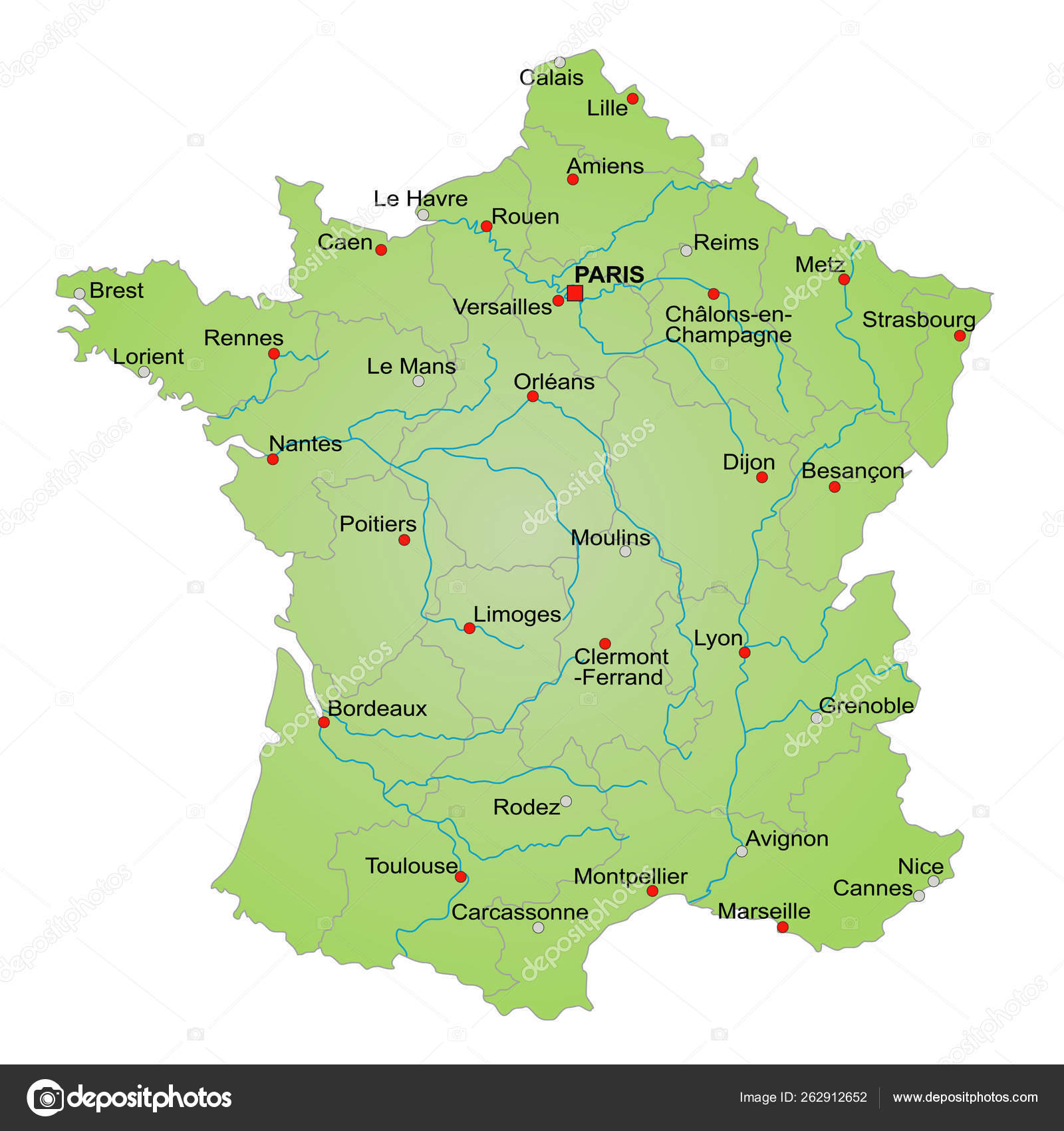 Stylized Map France Showing Provinces Cities Various Rivers All