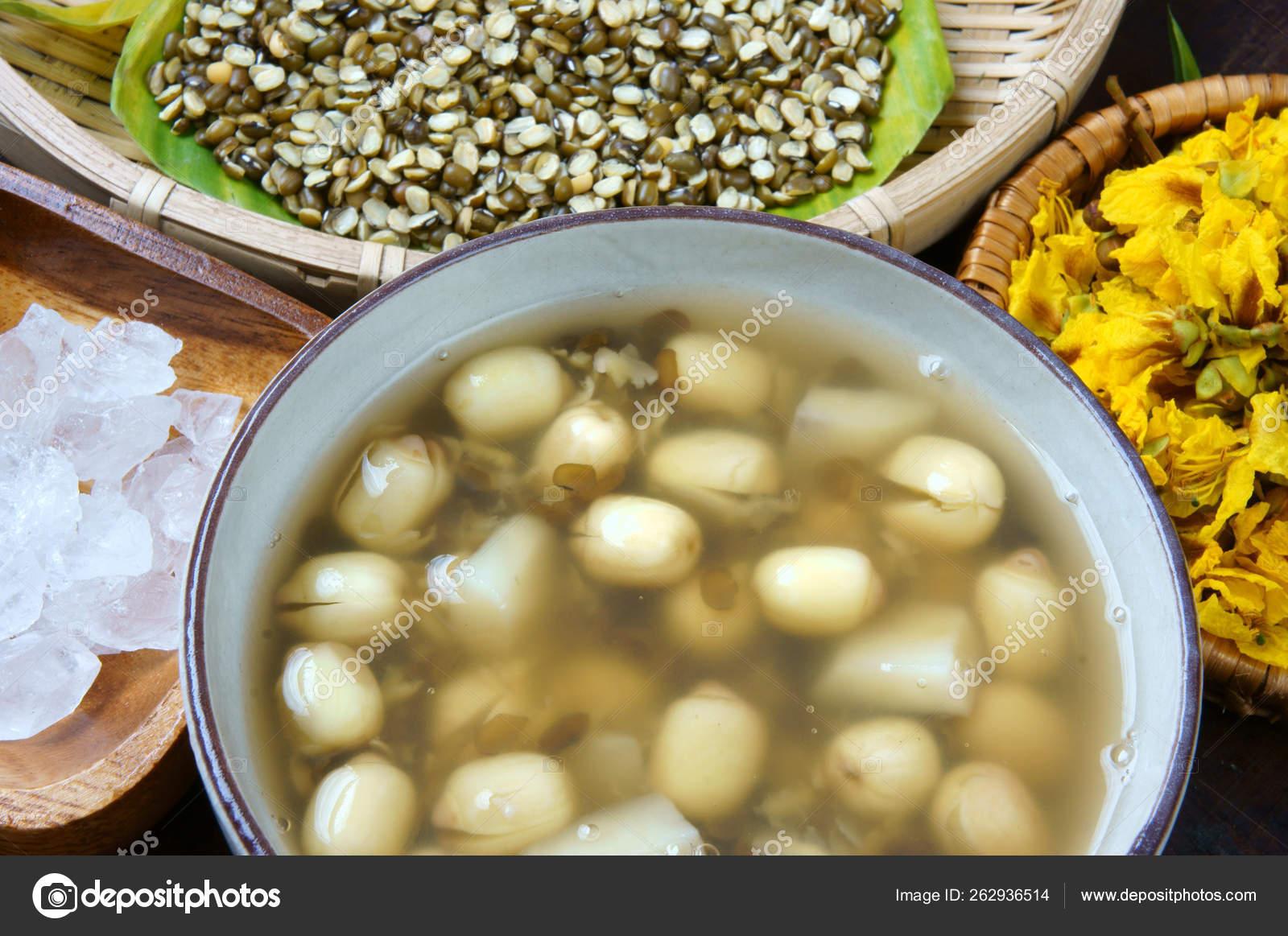 ベトナム料理 甘い蓮の種子のグルー マング豆 水栗と砂糖
