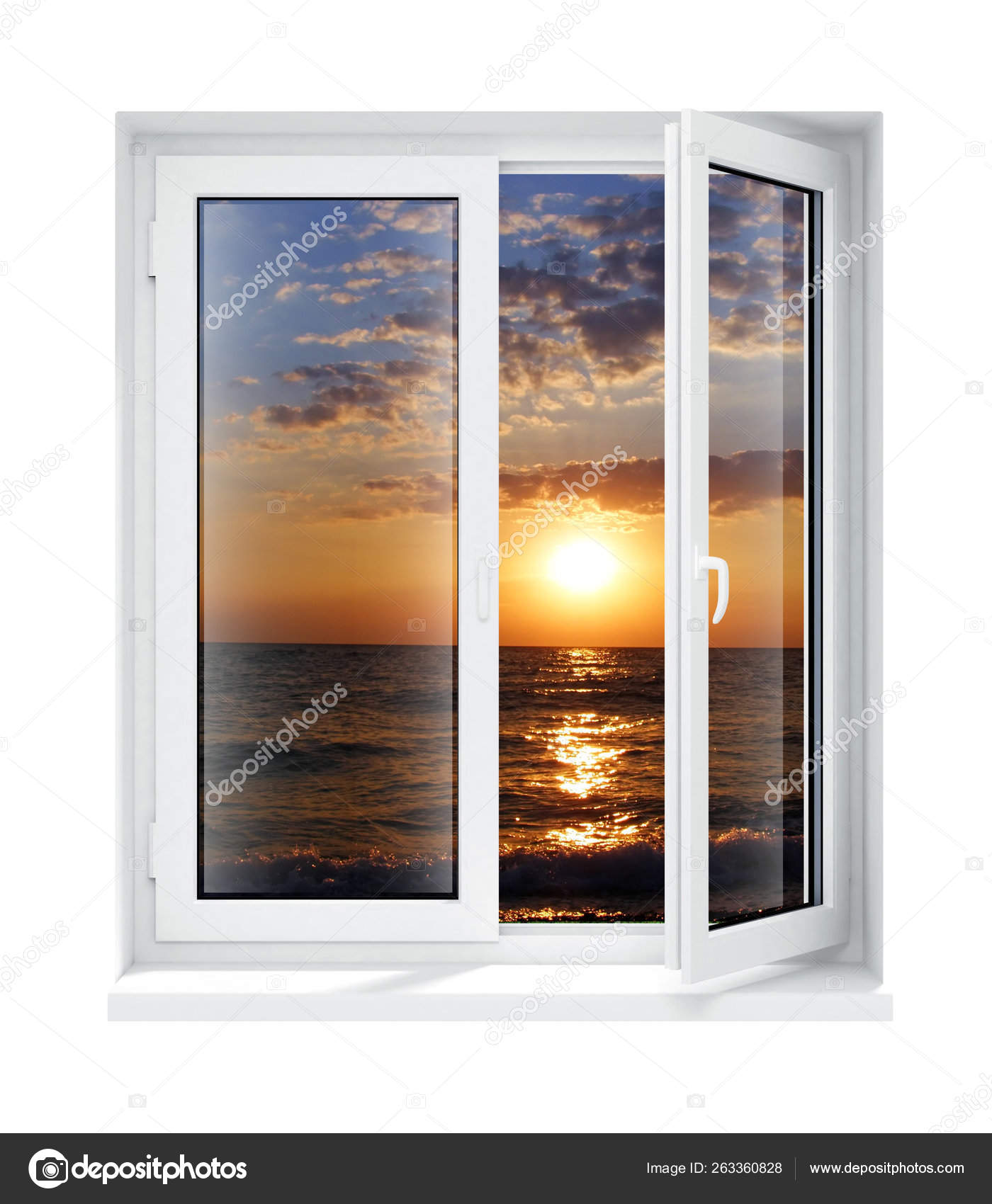 New Opened Plastic Glass Window Frame Evening Isolated White