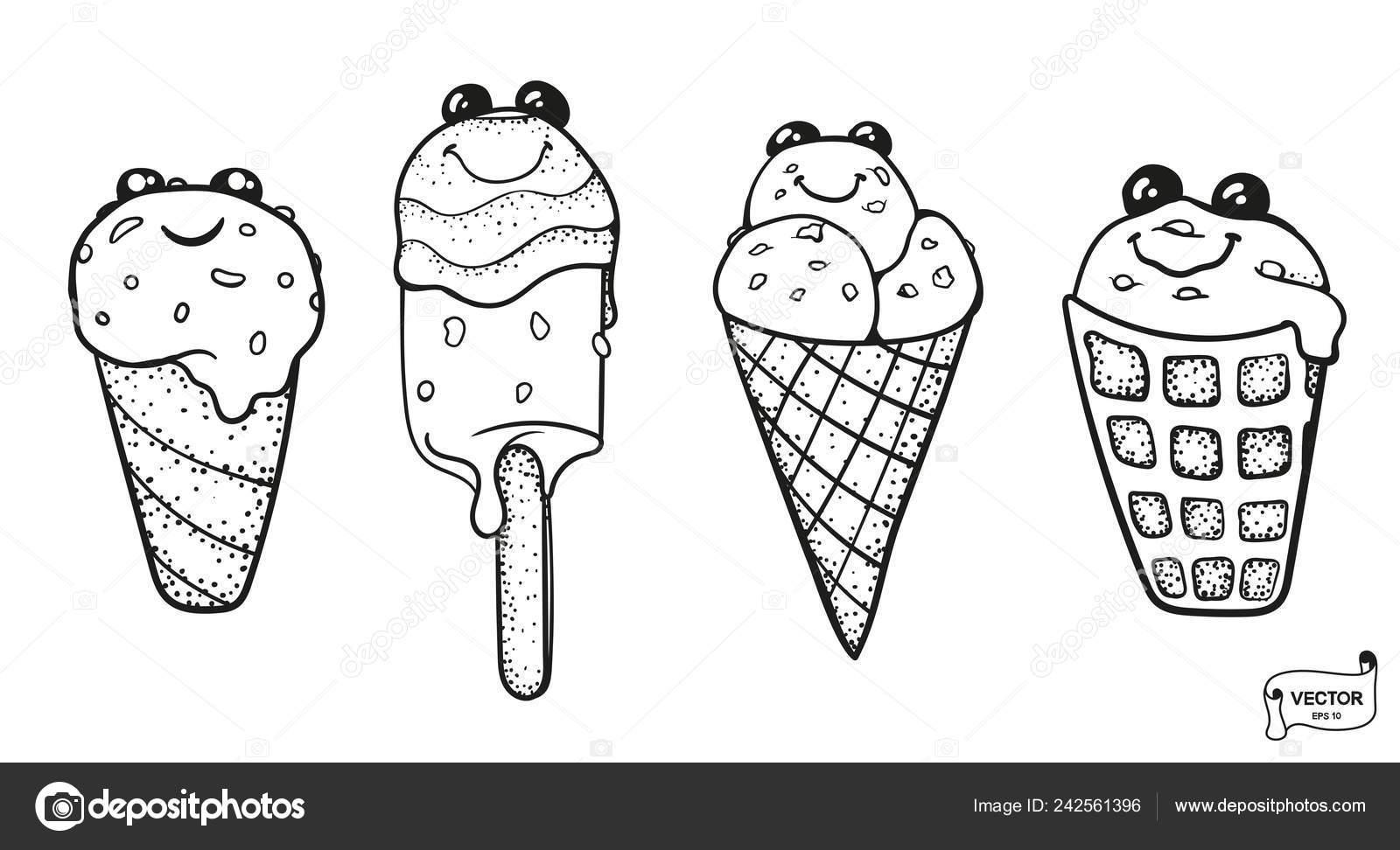 Vector Image Set Cute Cartoon Characters Smiling Kawaii Ice Cream