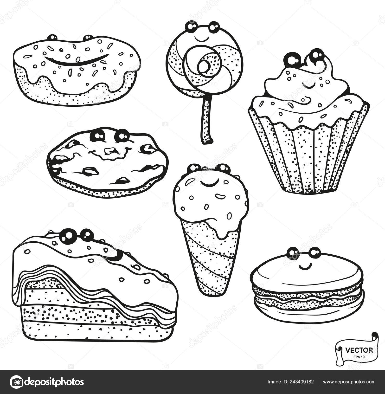 Vector Image Set Cute Cartoon Characters Smiling Kawaii Dessert