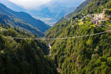 Valtartano - Valtellina (IT) - Aerial view of Campo Tartano with the Ponte nel Cielo