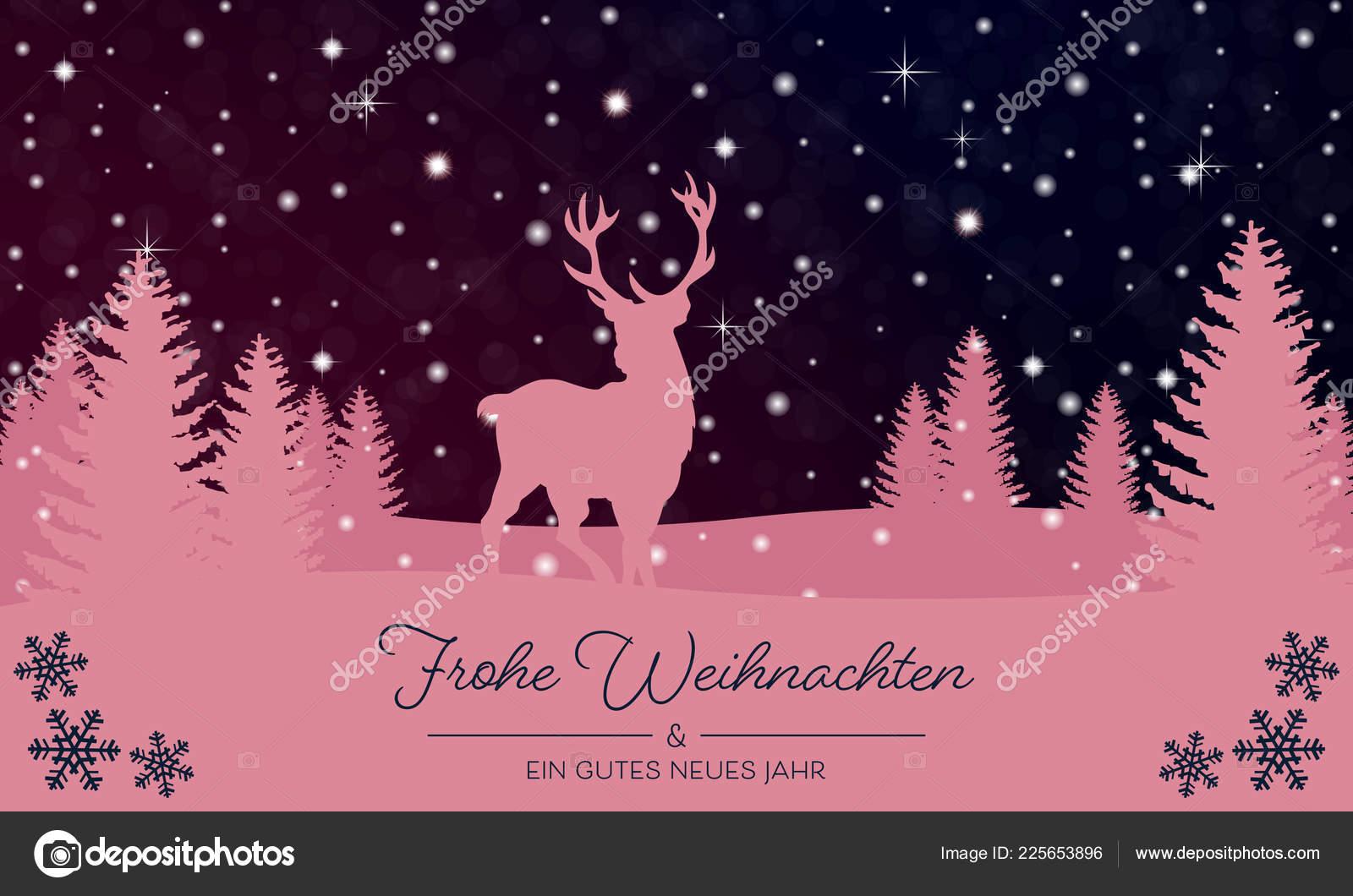Christmas Greetings Christmas Landscape Reindeer — Stock Vector © ii ...