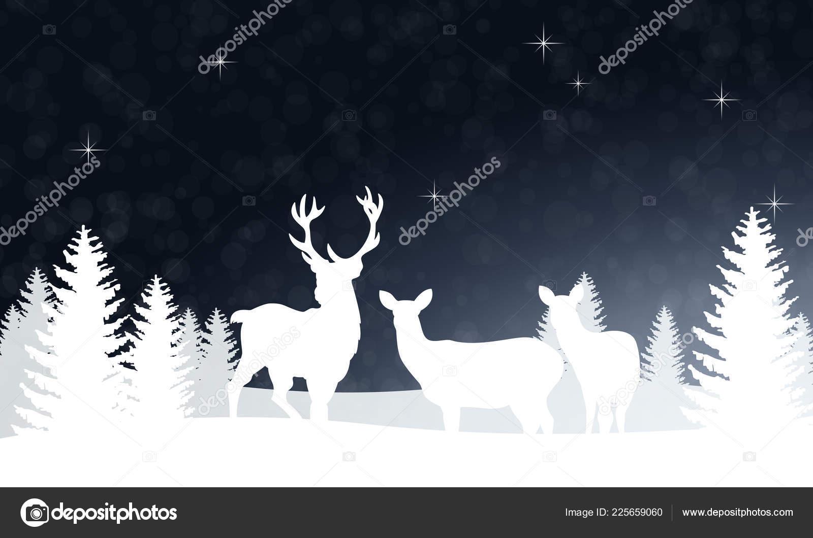 Christmas Greetings Christmas Landscape Reindeer Family — Stock ...