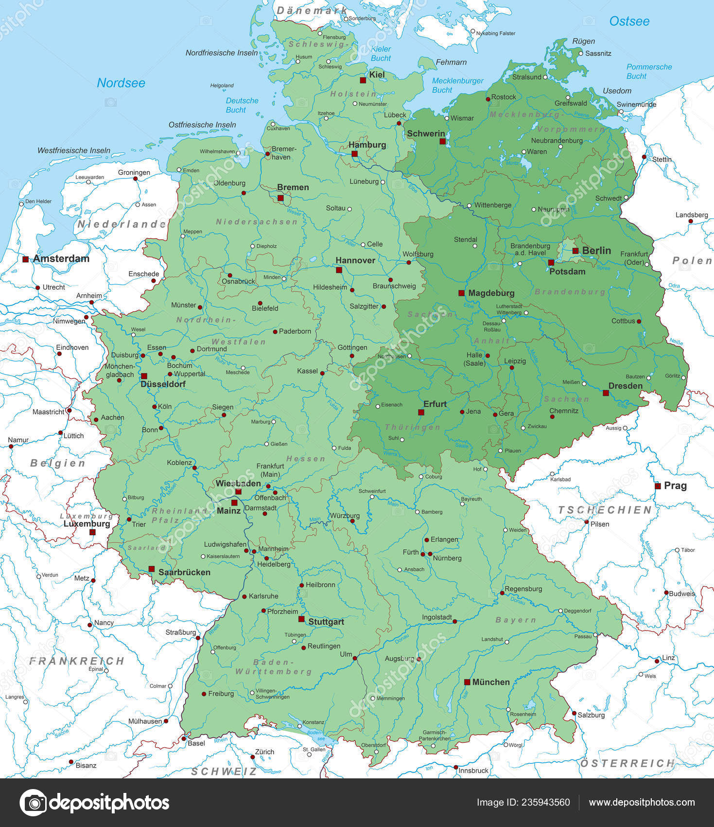 Germany Map East Germany High Detailed — Stock Vector © ii ...