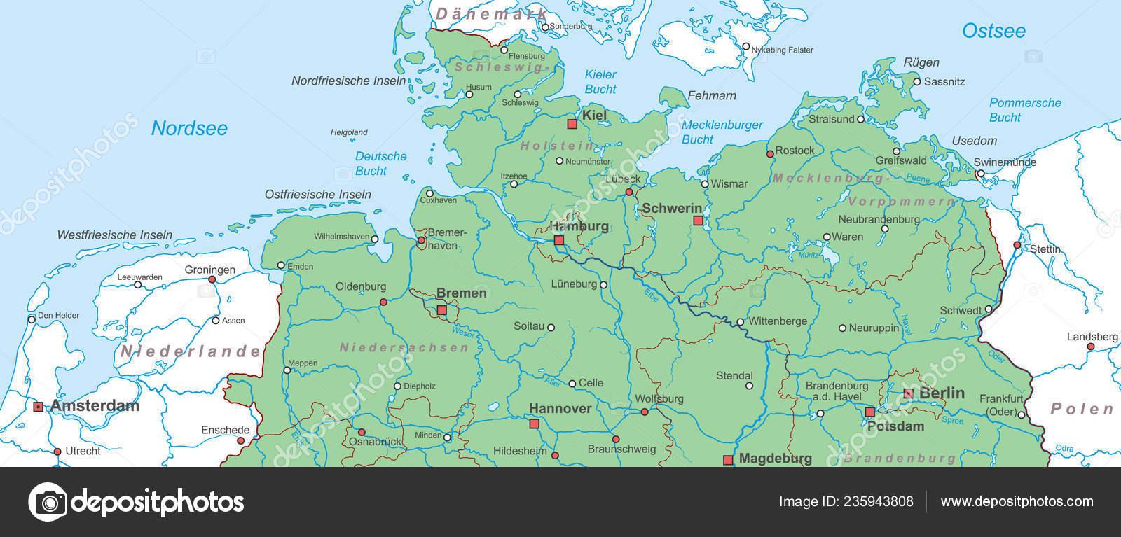Norddeutschland Karte.Deutschland Karte Von Norddeutschland Hoch Detailliert Stockvektor