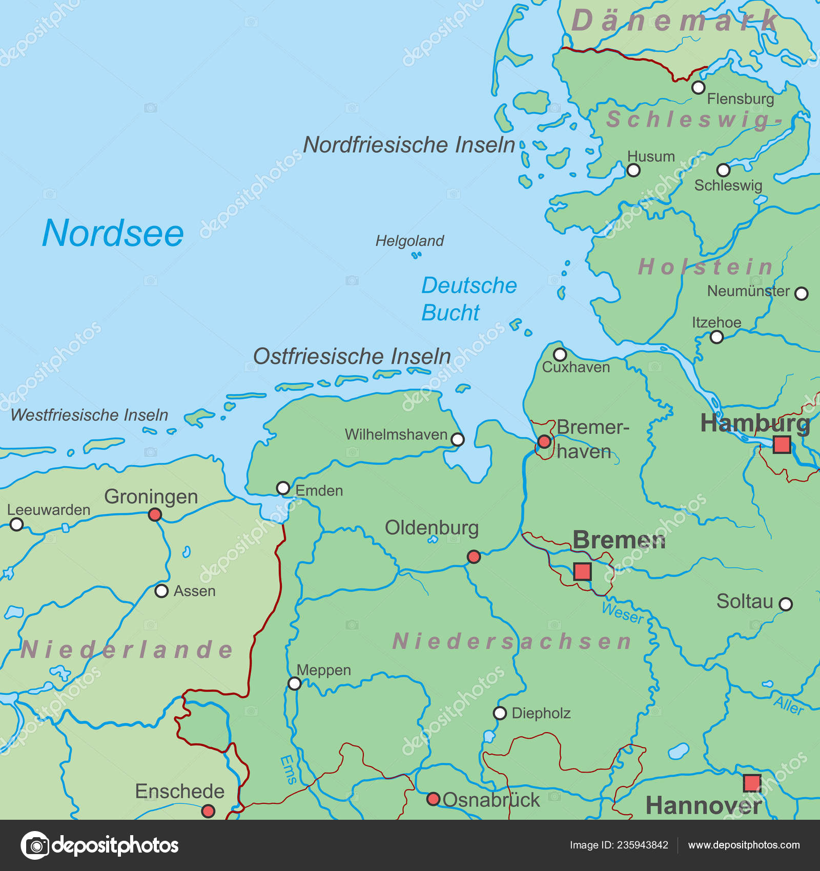 Map Germany North Sea High Detailed Stock Vector C Ii Graphics