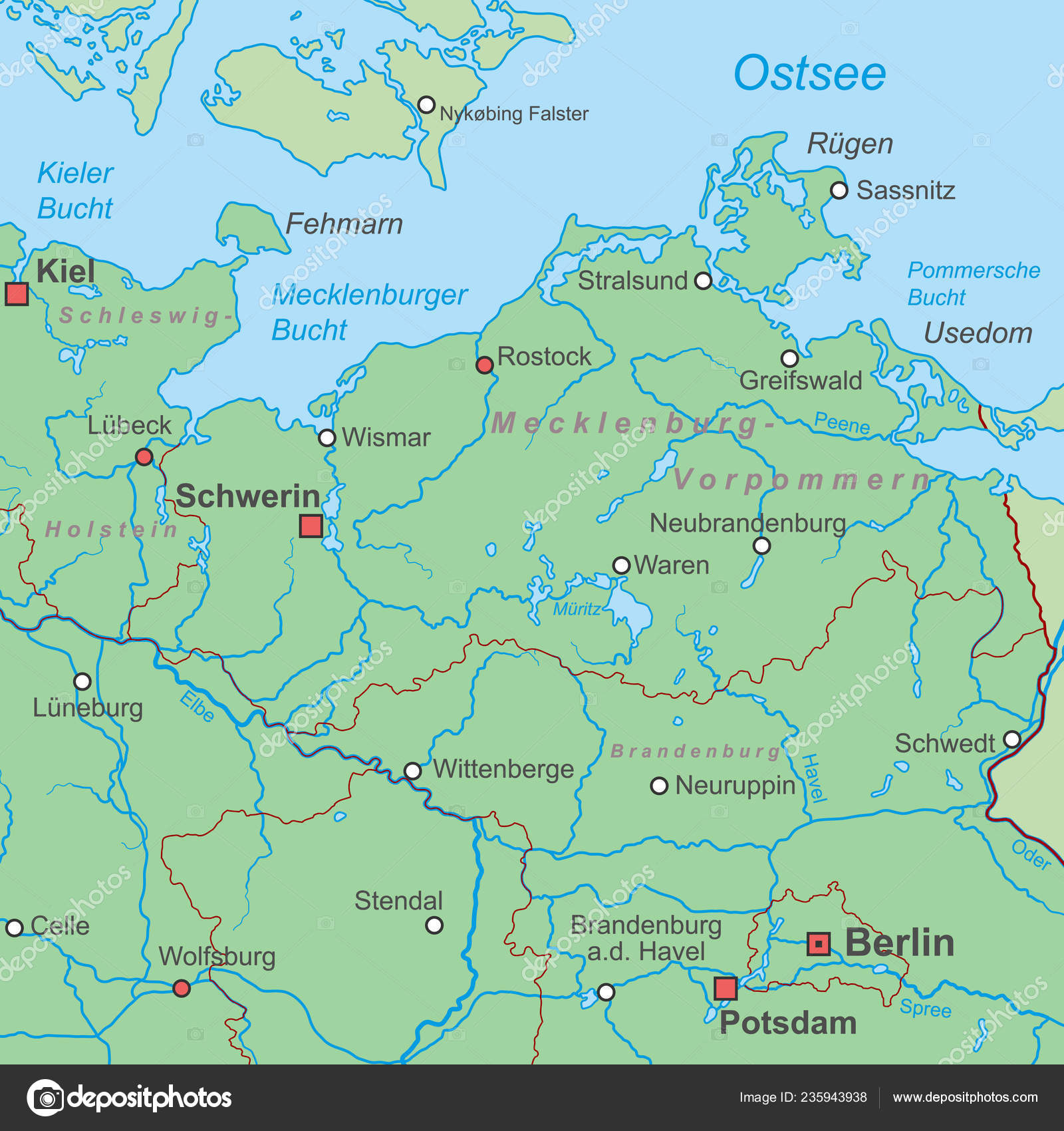 Karte Norddeutschland Ostsee.Karte Von Deutschland Ostsee Hoch Detailliert Stockvektor