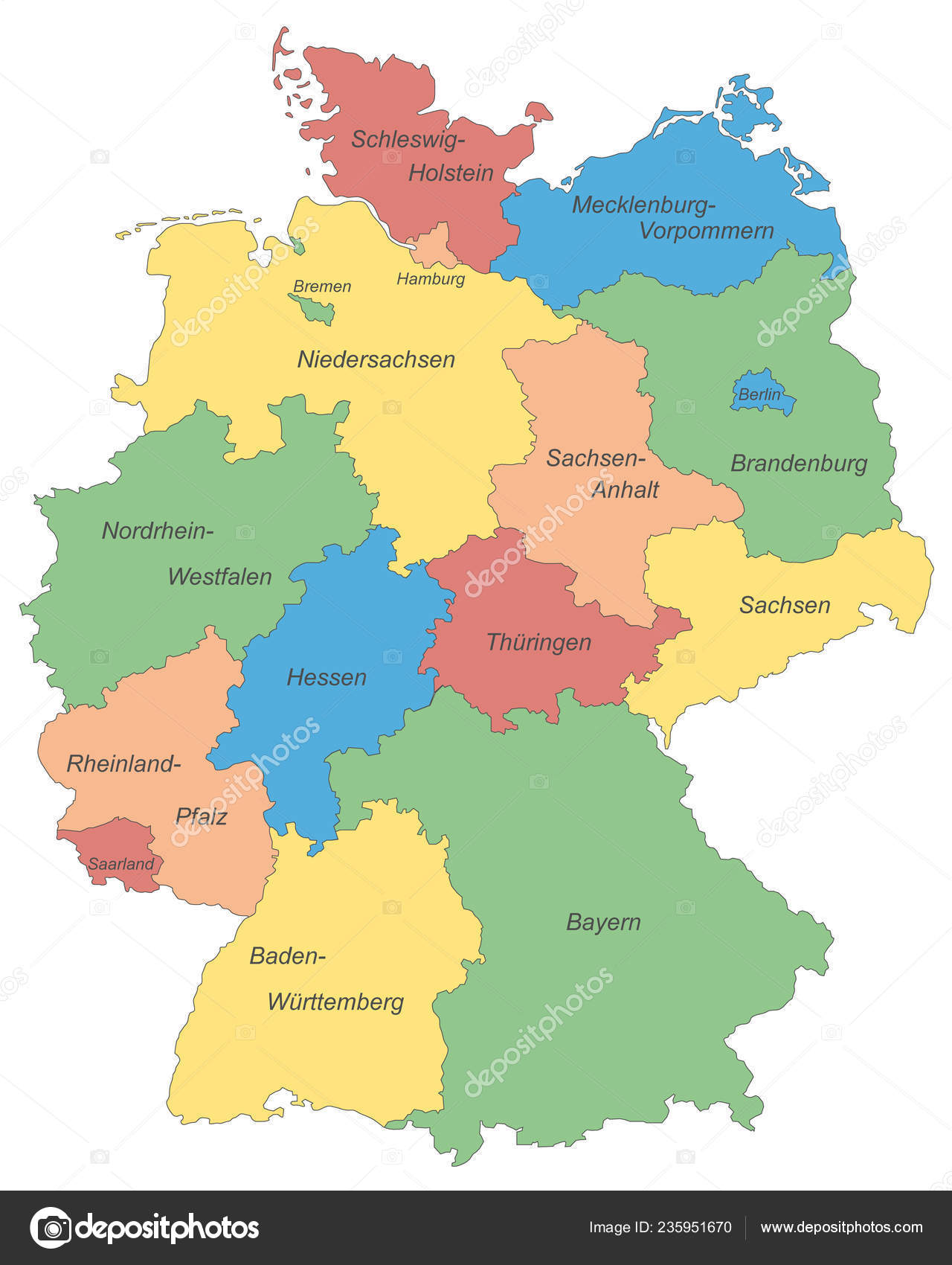 Germany Map Germany High Detailed — Stock Vector © ii ...