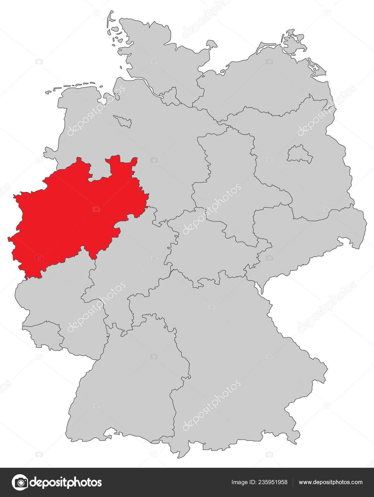 Nordrhein Westfalen Karte.Nordrhein Westfalen Karte Von Deutschland Hoch Detailliert