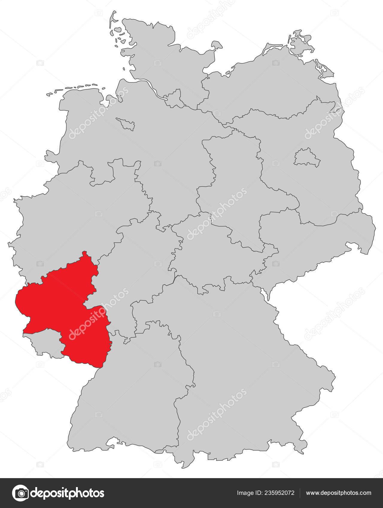 Rheinland Pfalz Map Germany High Detailed Stockvektor C Ii