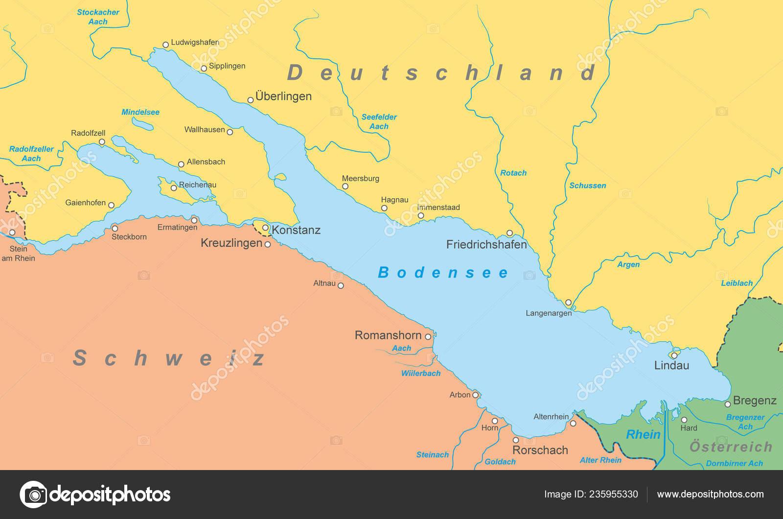 Bodensee Karte.Bodensee Karte Von Bodensee Stockvektor Ii Graphics 235955330
