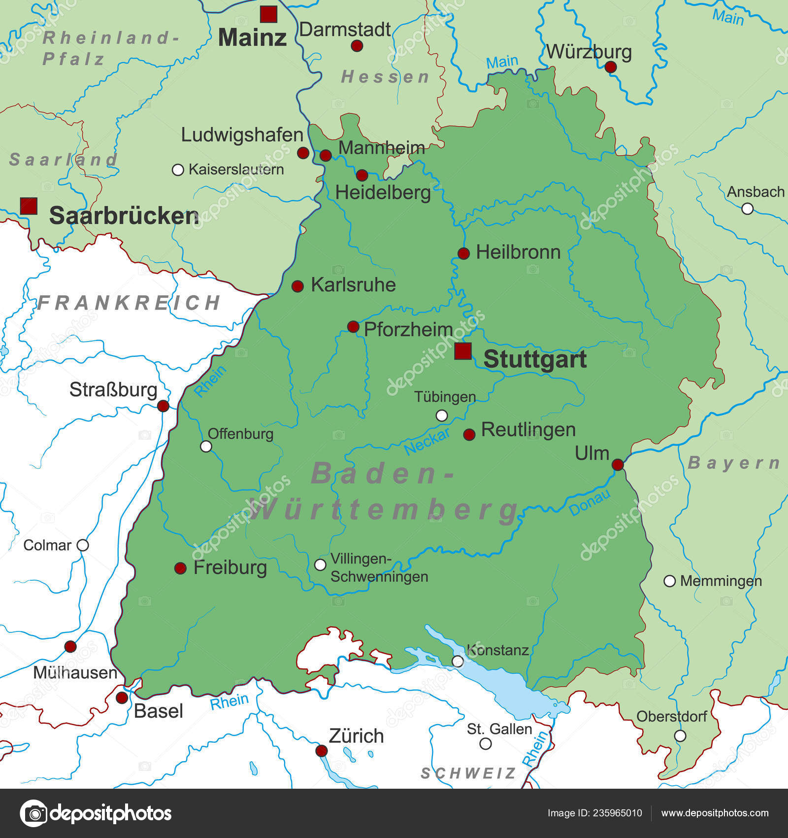 Map Of Germany Karlsruhe Baden.Baden Wurttemberg Map Germany High Detailed Stock Vector C Ii